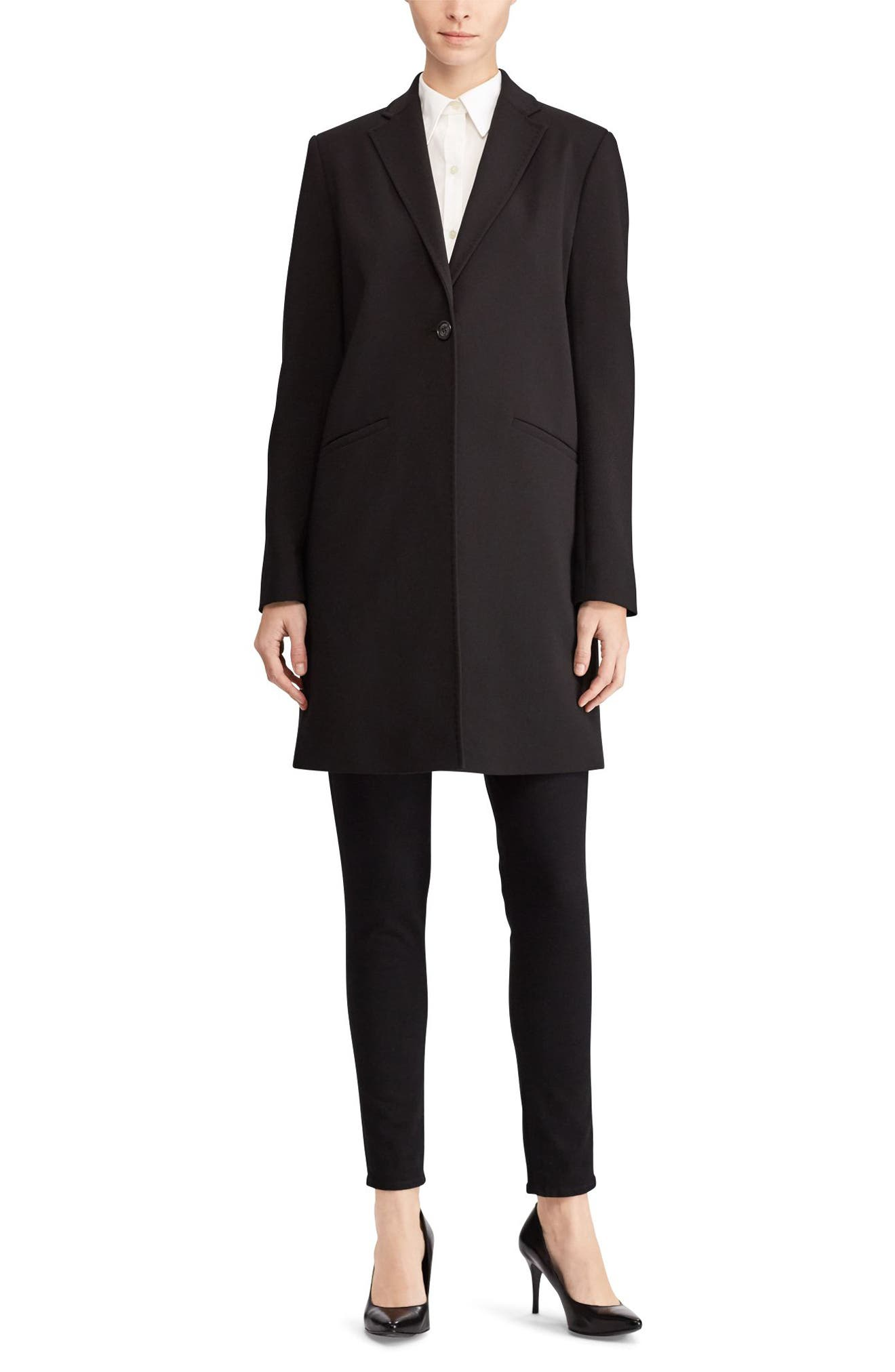 Crepe Reefer Coat,                             Alternate thumbnail 3, color,                             Black