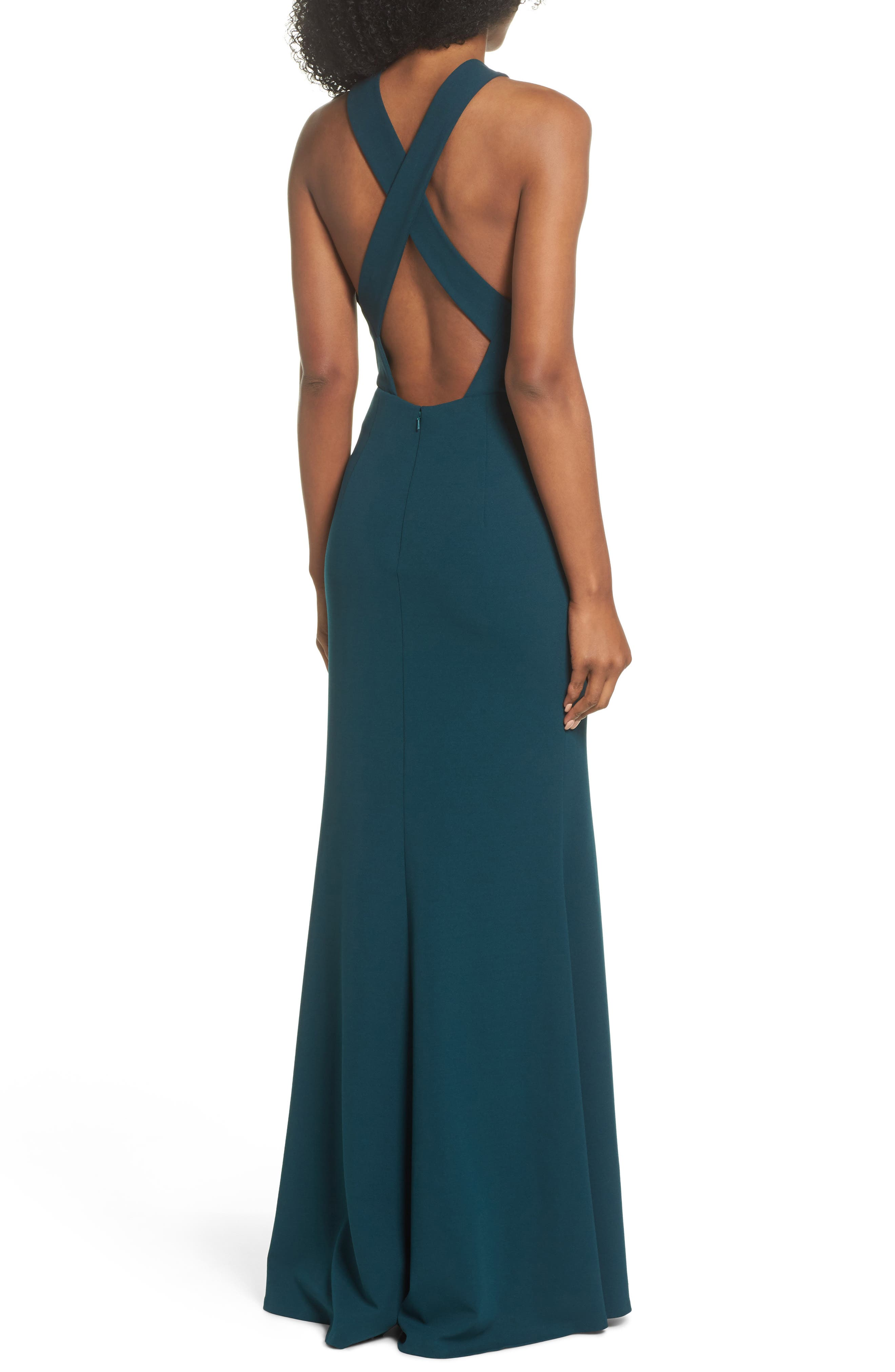 Alternate Image 3  - Jenny Yoo Kayleigh Cross Front Crepe Knit Gown