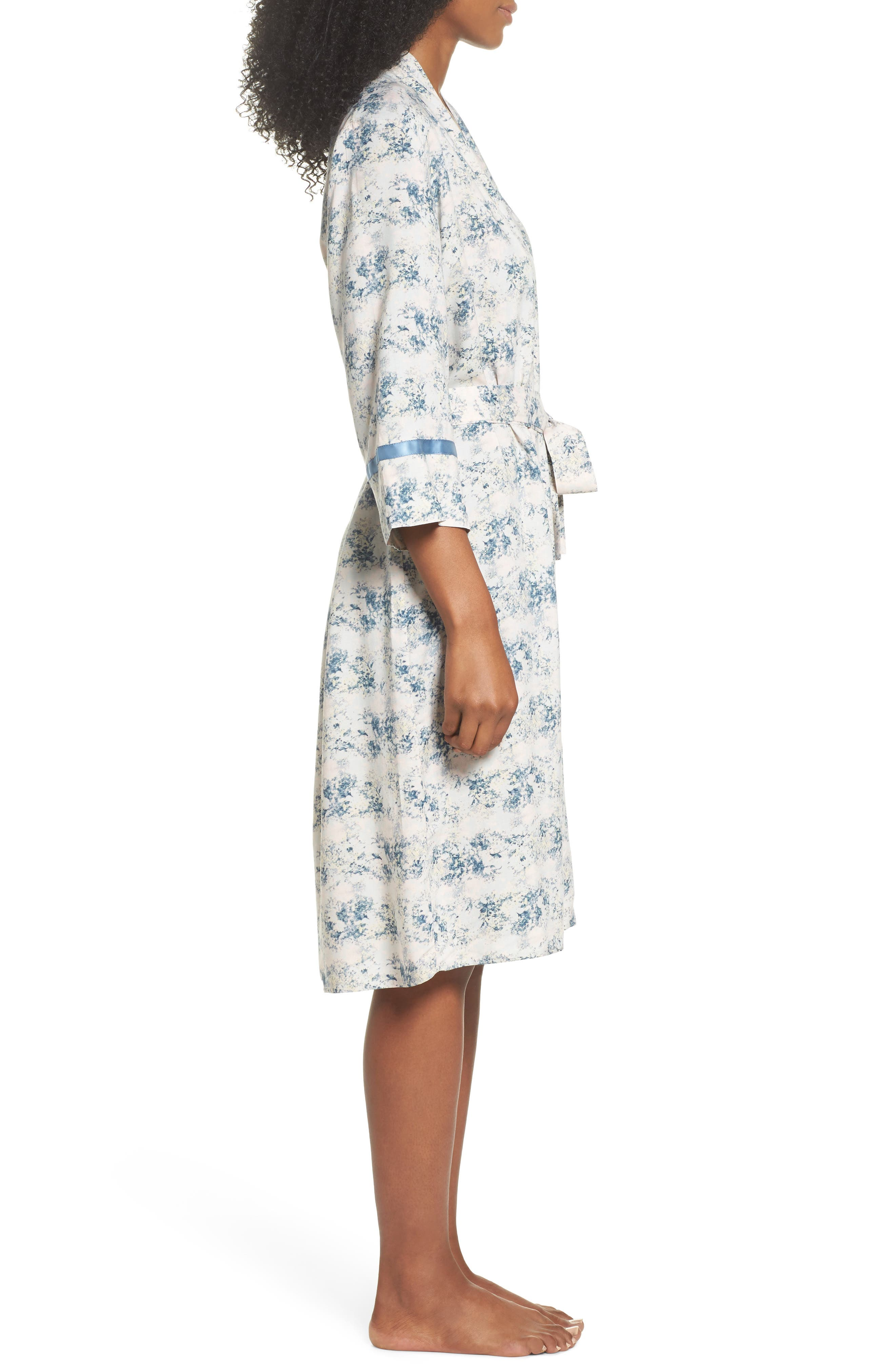 Floral Print Robe,                             Alternate thumbnail 3, color,                             Blue