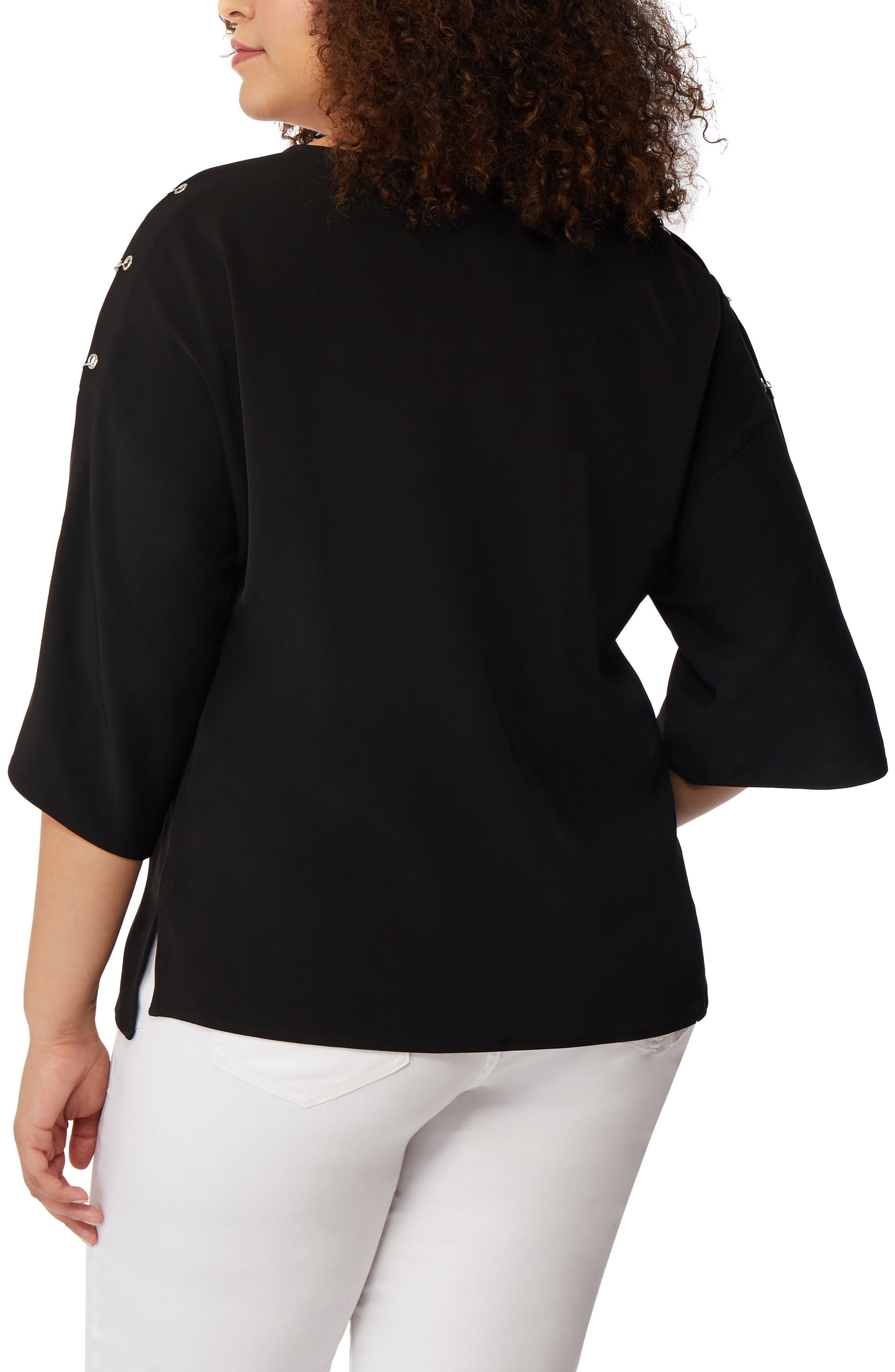 Pierced Split Sleeve Blouse,                             Alternate thumbnail 2, color,                             Black