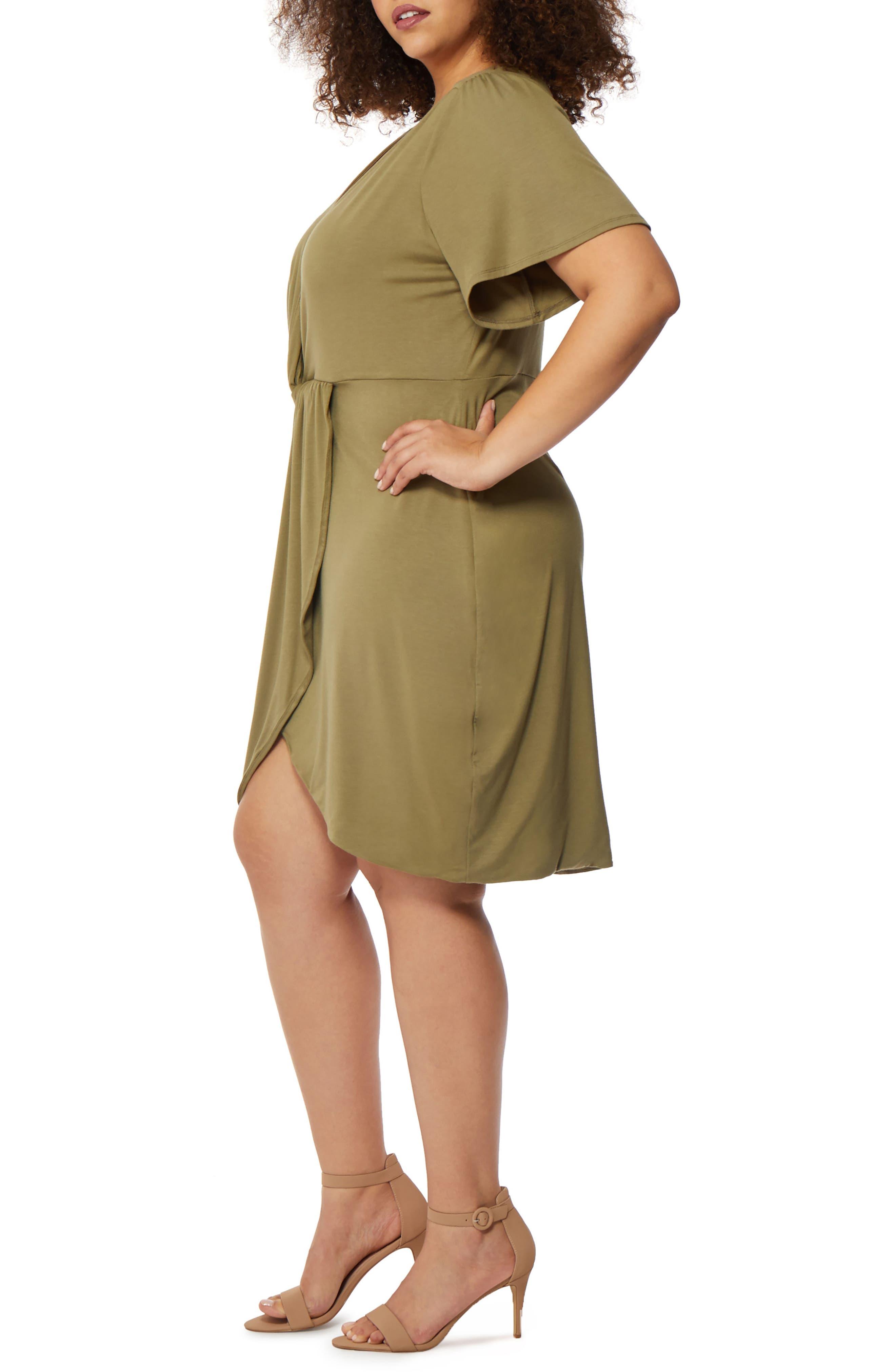 Twist Front Dress,                             Alternate thumbnail 3, color,                             Burnt Olive
