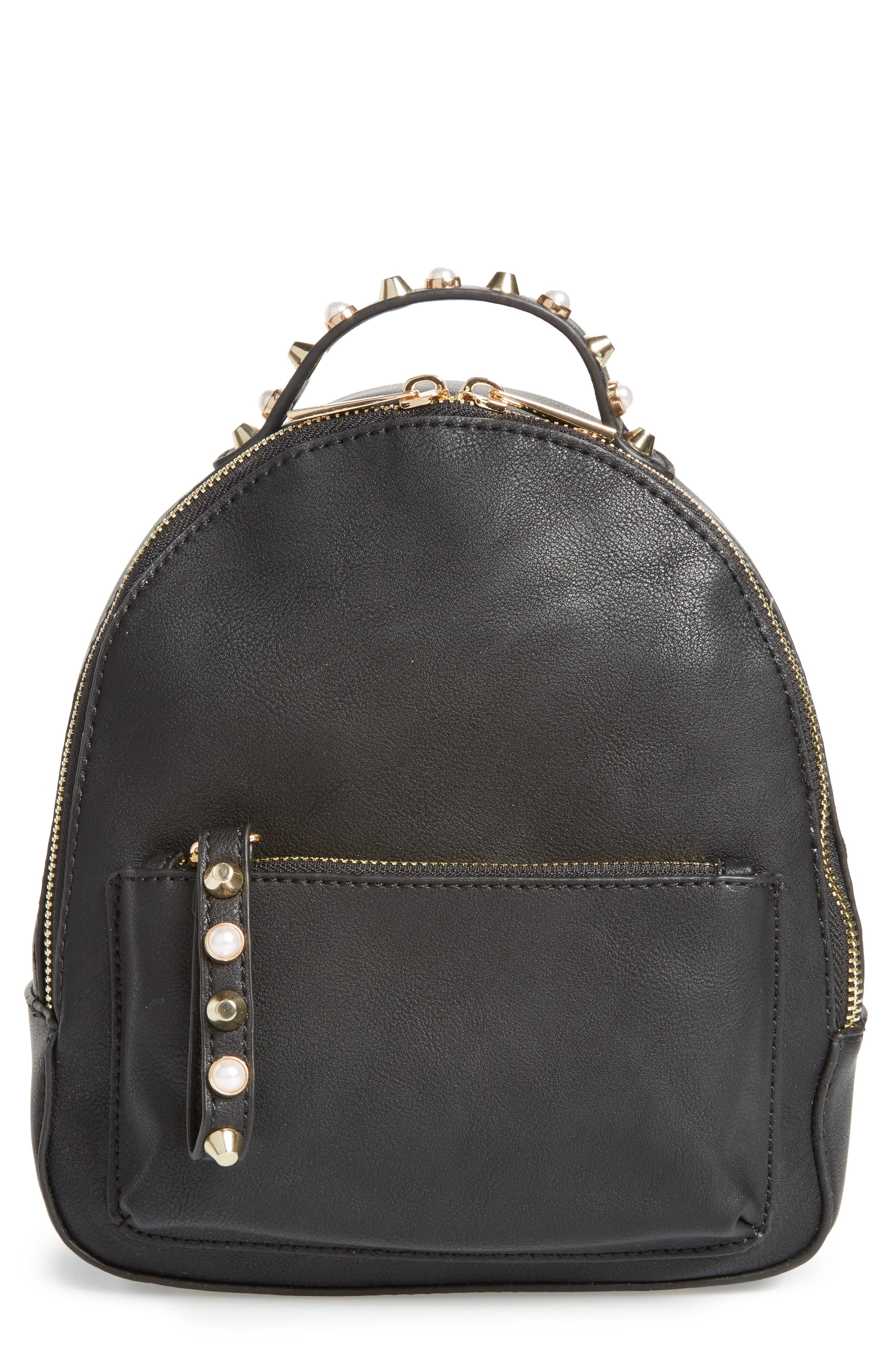 Embellished Faux Leather Backpack,                             Main thumbnail 1, color,                             Black
