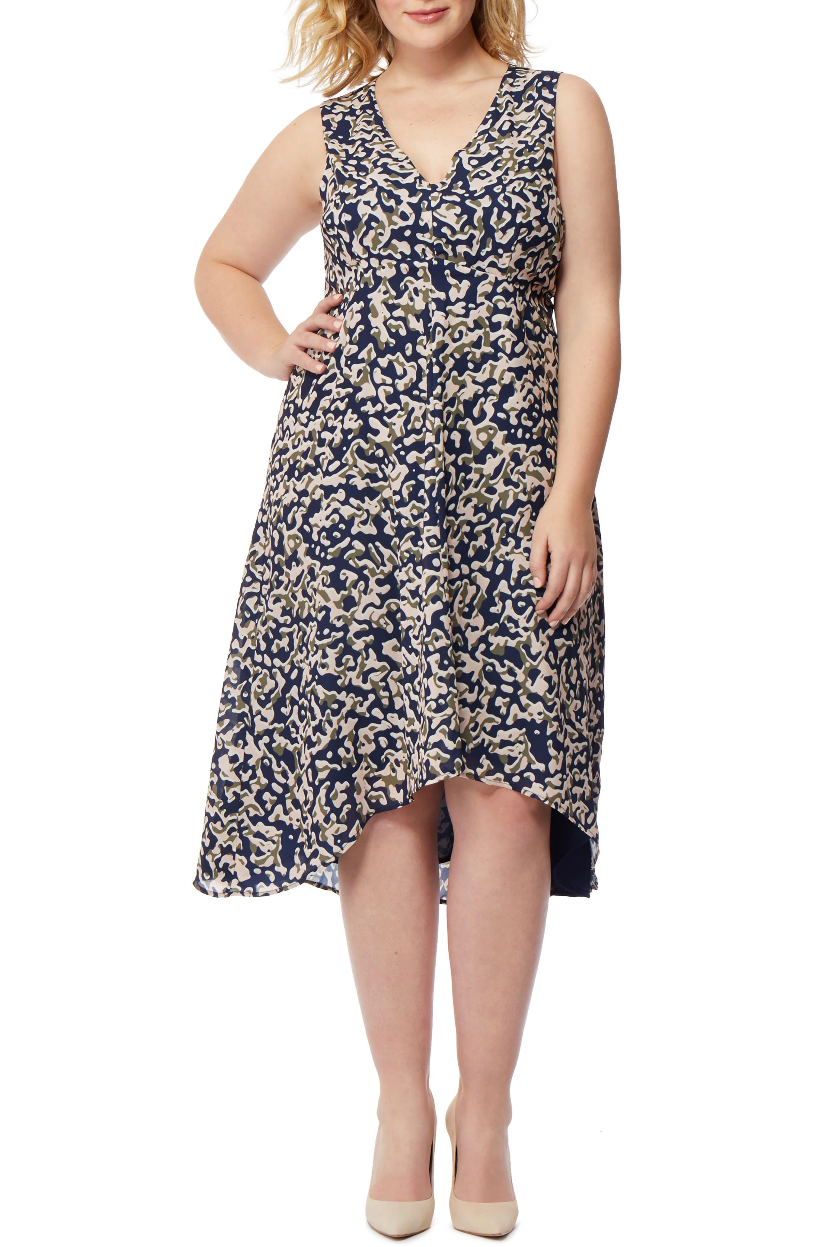 Print High/Low Dress,                         Main,                         color, Minor Camo