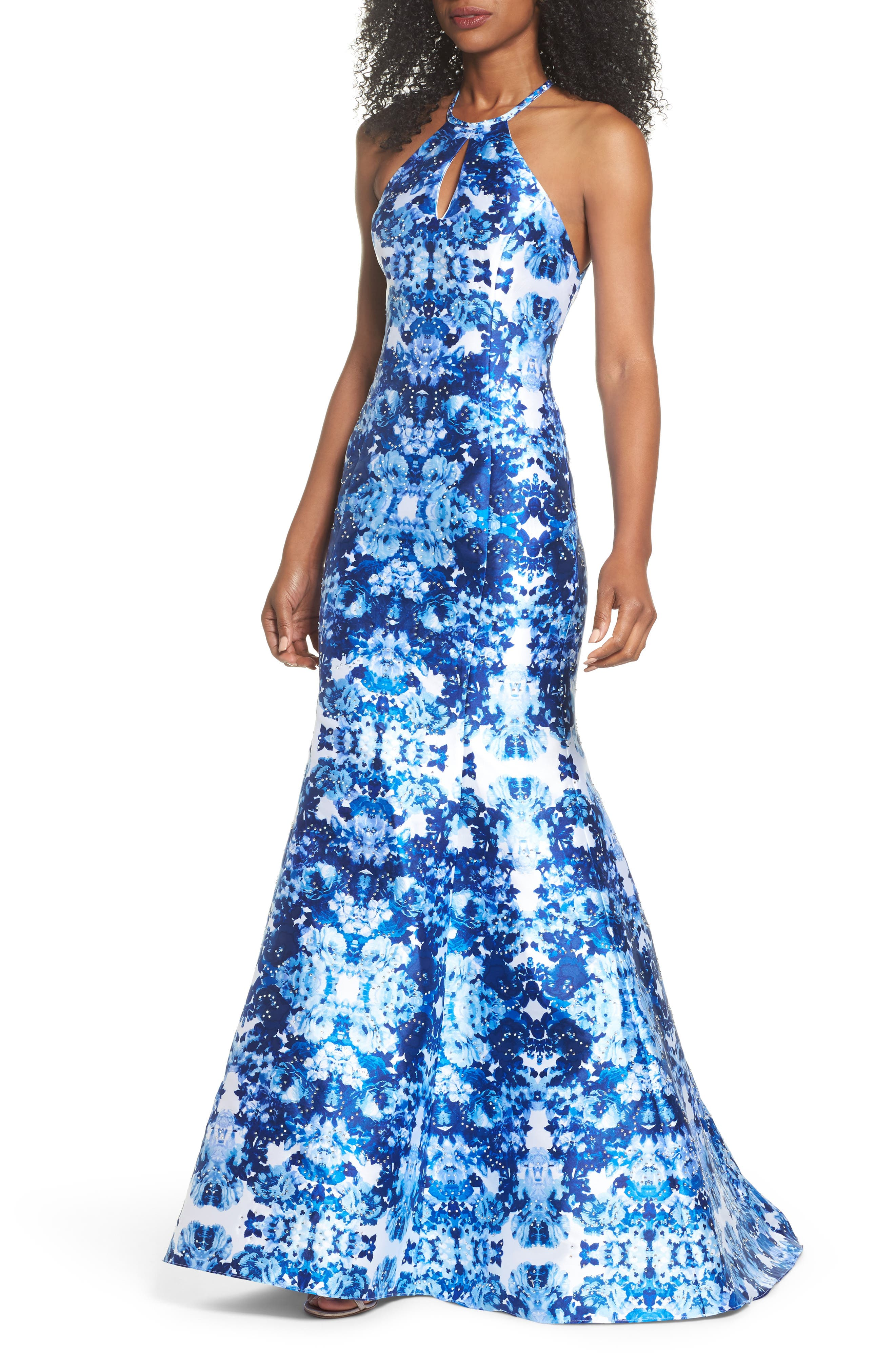 Mirror Pattern Halter Mermaid Gown,                             Main thumbnail 1, color,                             Blue/ Multi