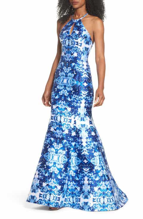 Xscape Mirror Pattern Halter Mermaid Gown
