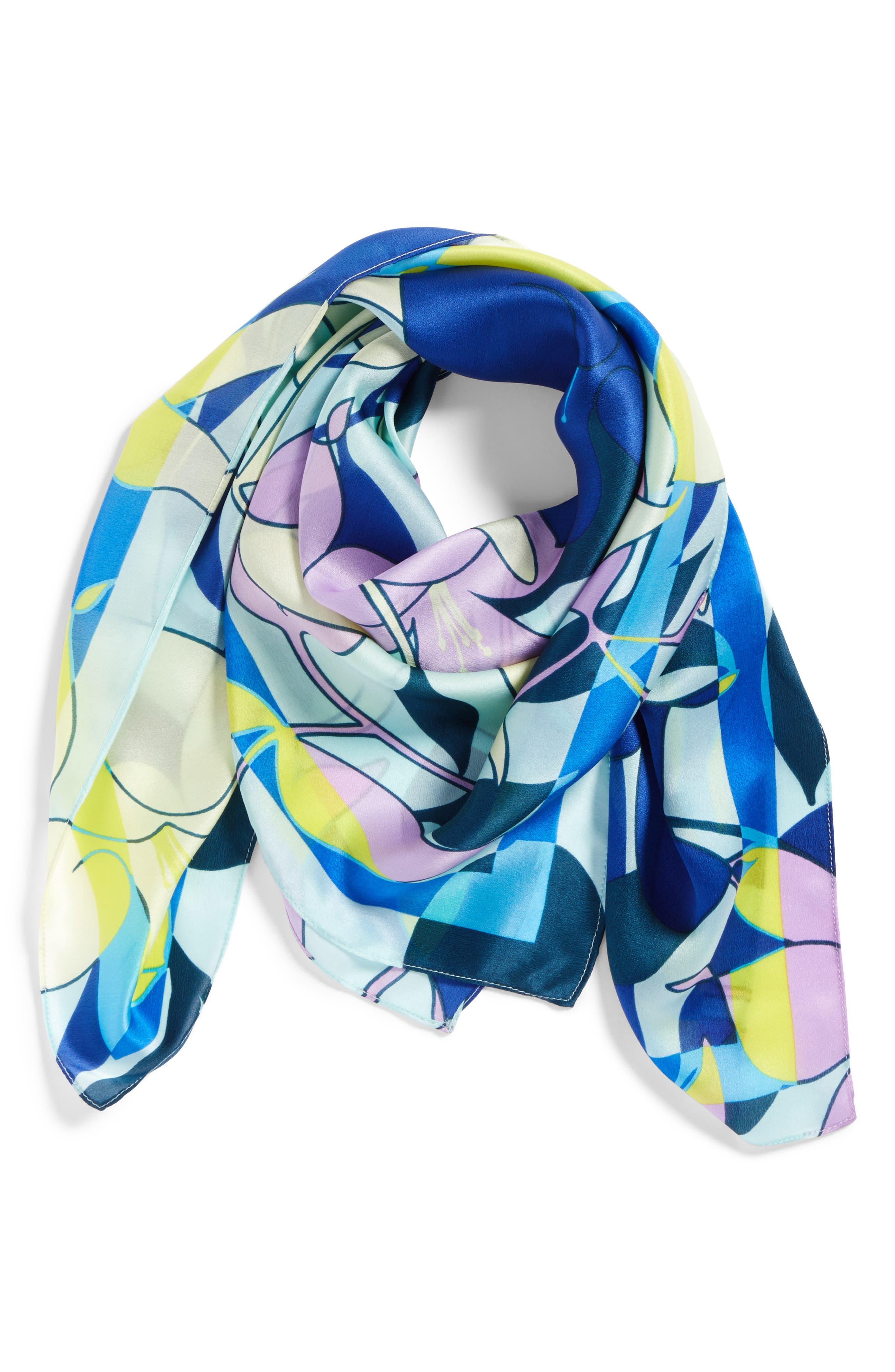 Print Silk Scarf,                             Alternate thumbnail 2, color,                             Blue Pop Art Floral