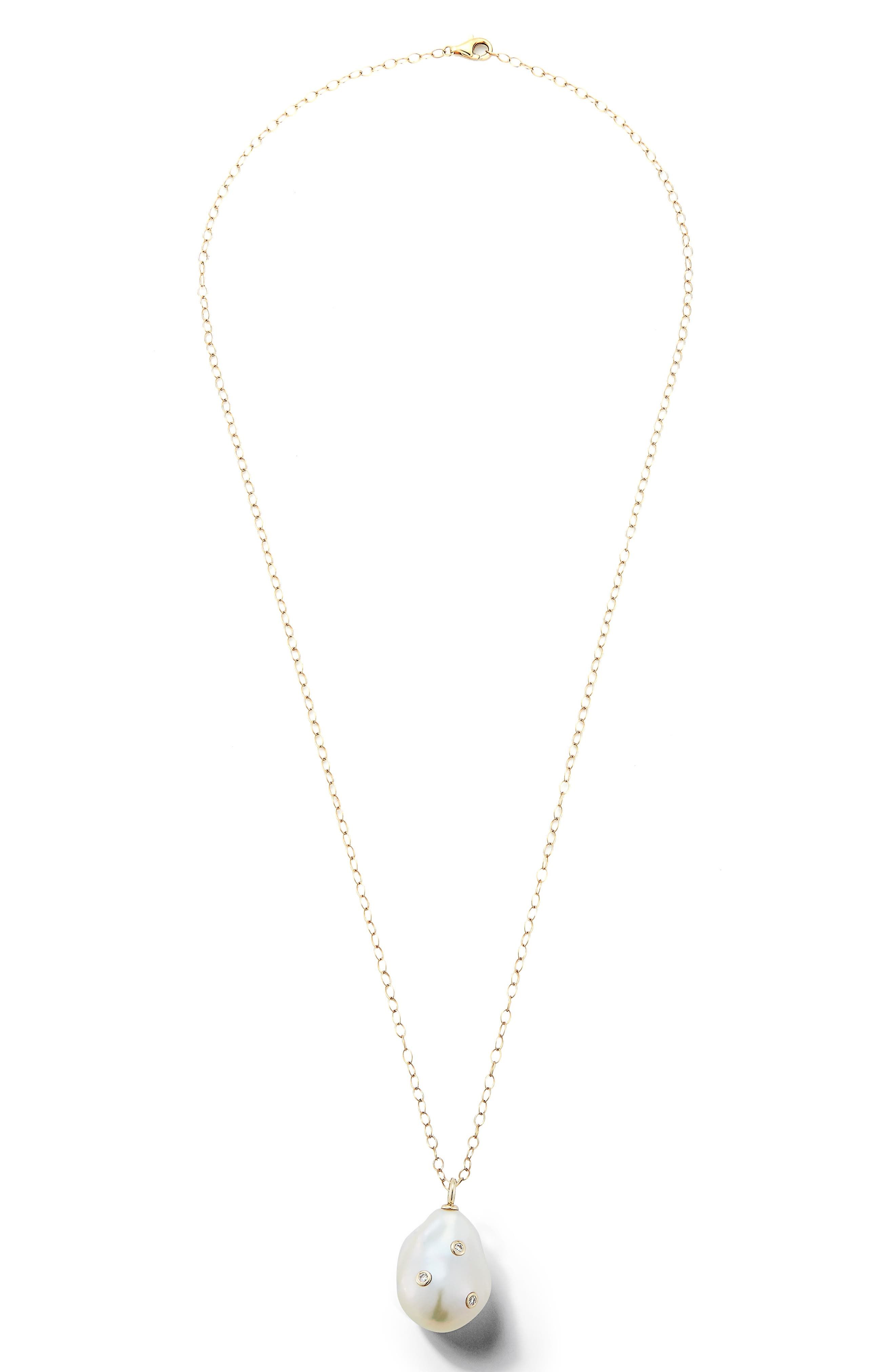 Baroque Pearl and Diamond Pendant Necklace,                             Main thumbnail 1, color,                             Yellow Gold/ Pearl