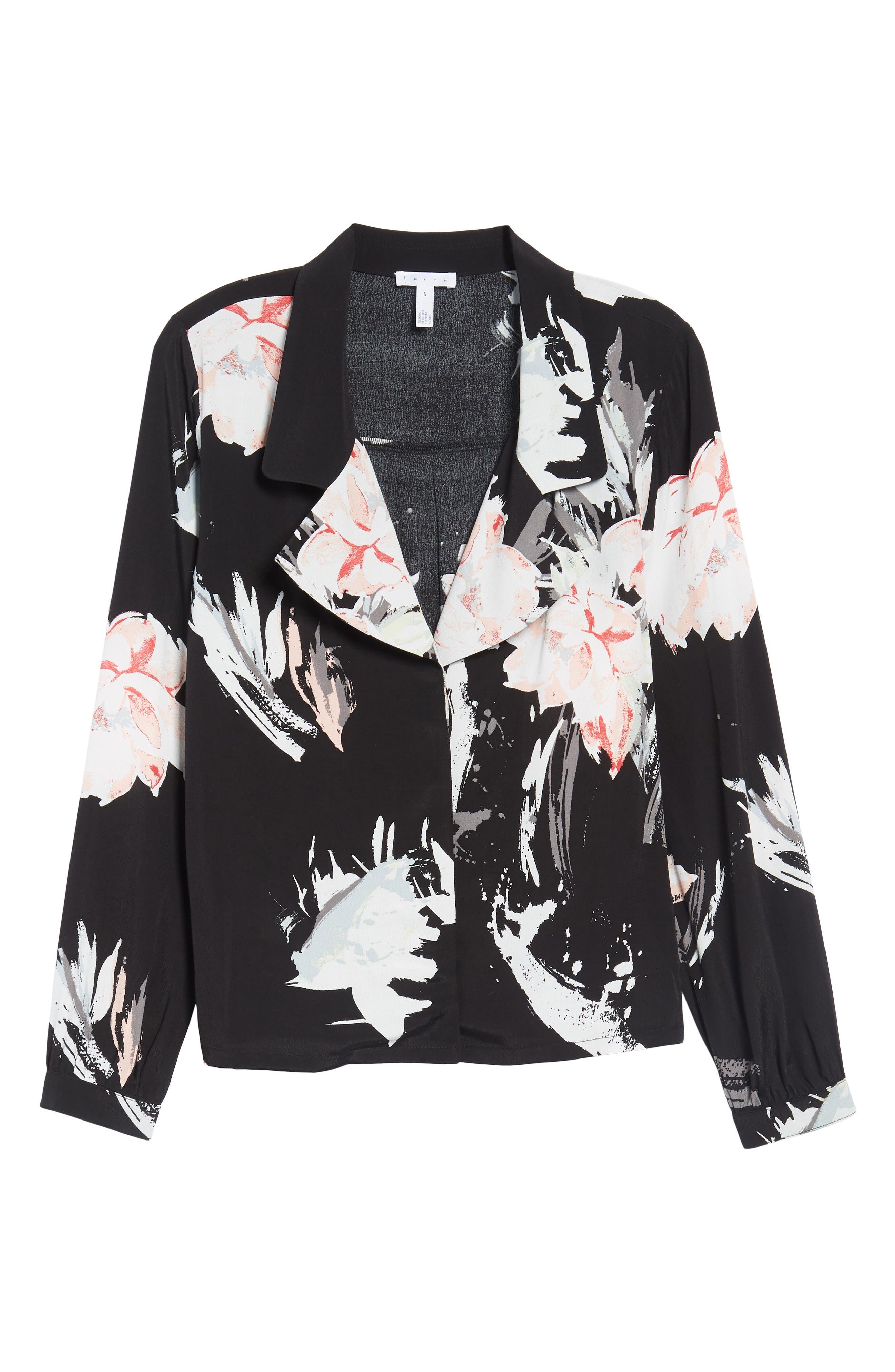 Notch Collar Print Blouse,                             Alternate thumbnail 6, color,                             Black Fierce Edge Floral