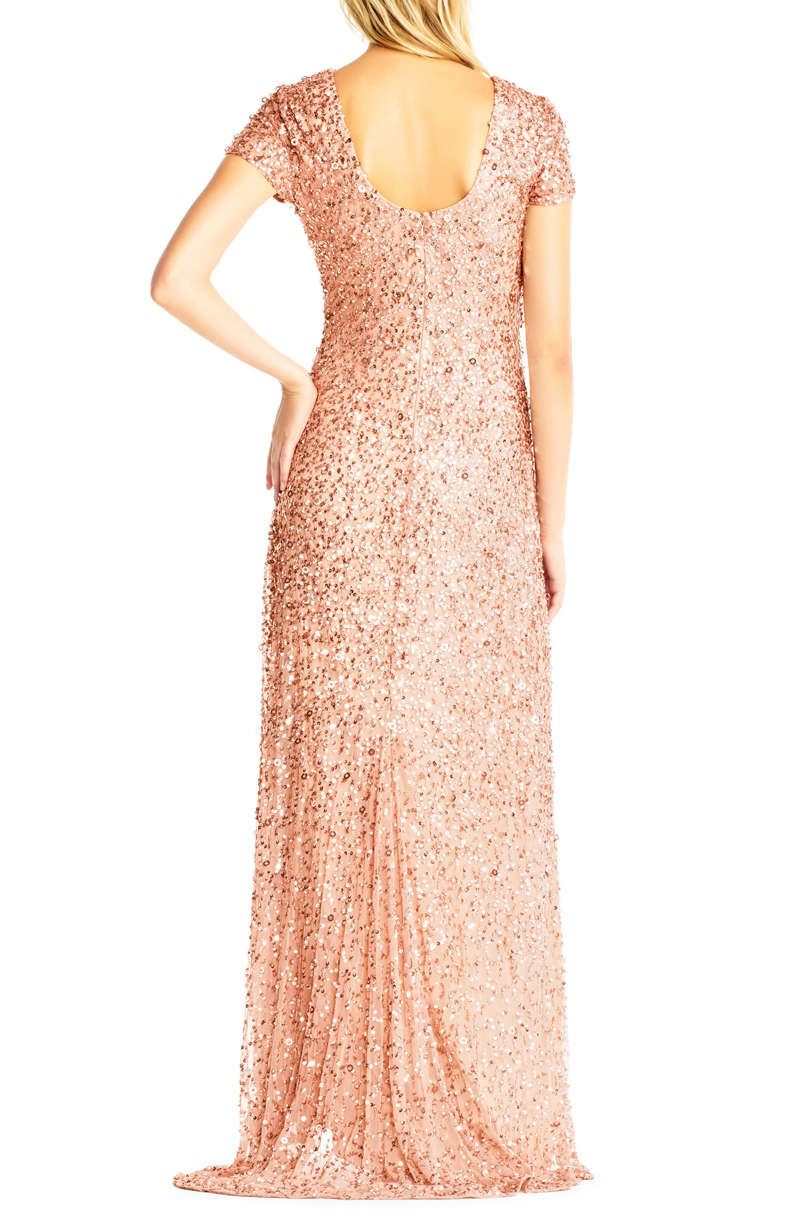 Short Sleeve Sequin Mesh Gown,                             Alternate thumbnail 2, color,                             Rose Gold