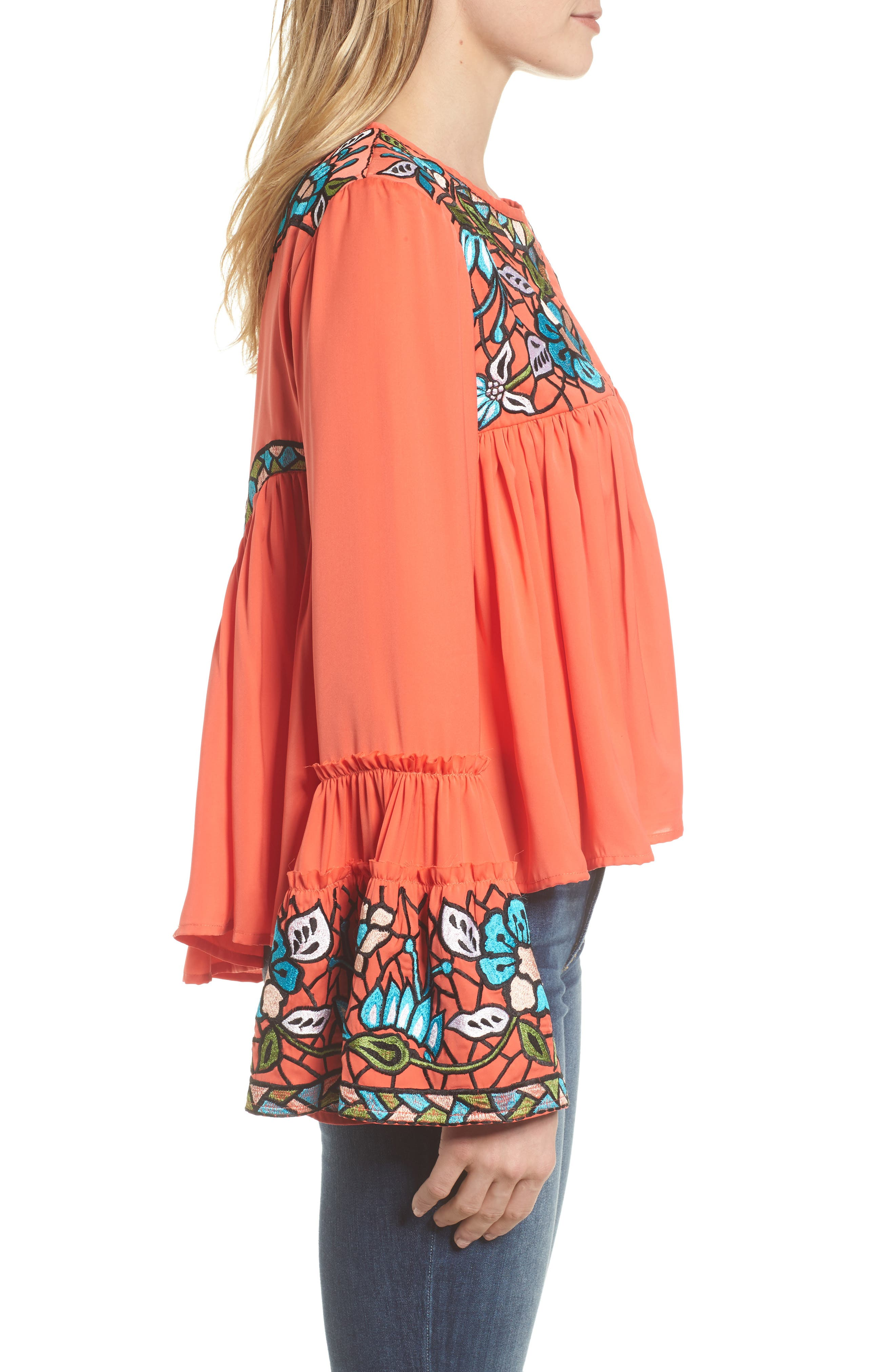 Malo Embroidered Button Blouse,                             Alternate thumbnail 3, color,                             Coral