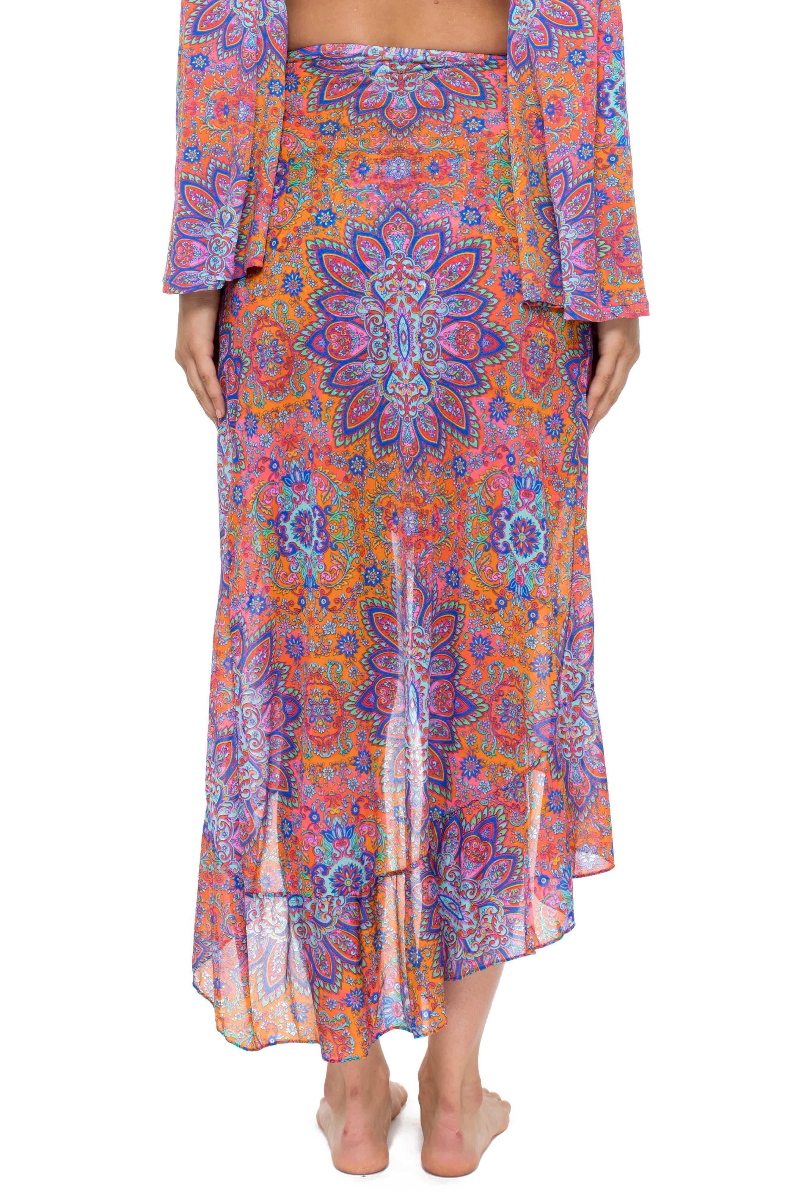 Ruffle Skirt Cover-Up,                             Alternate thumbnail 2, color,                             Pink Multi