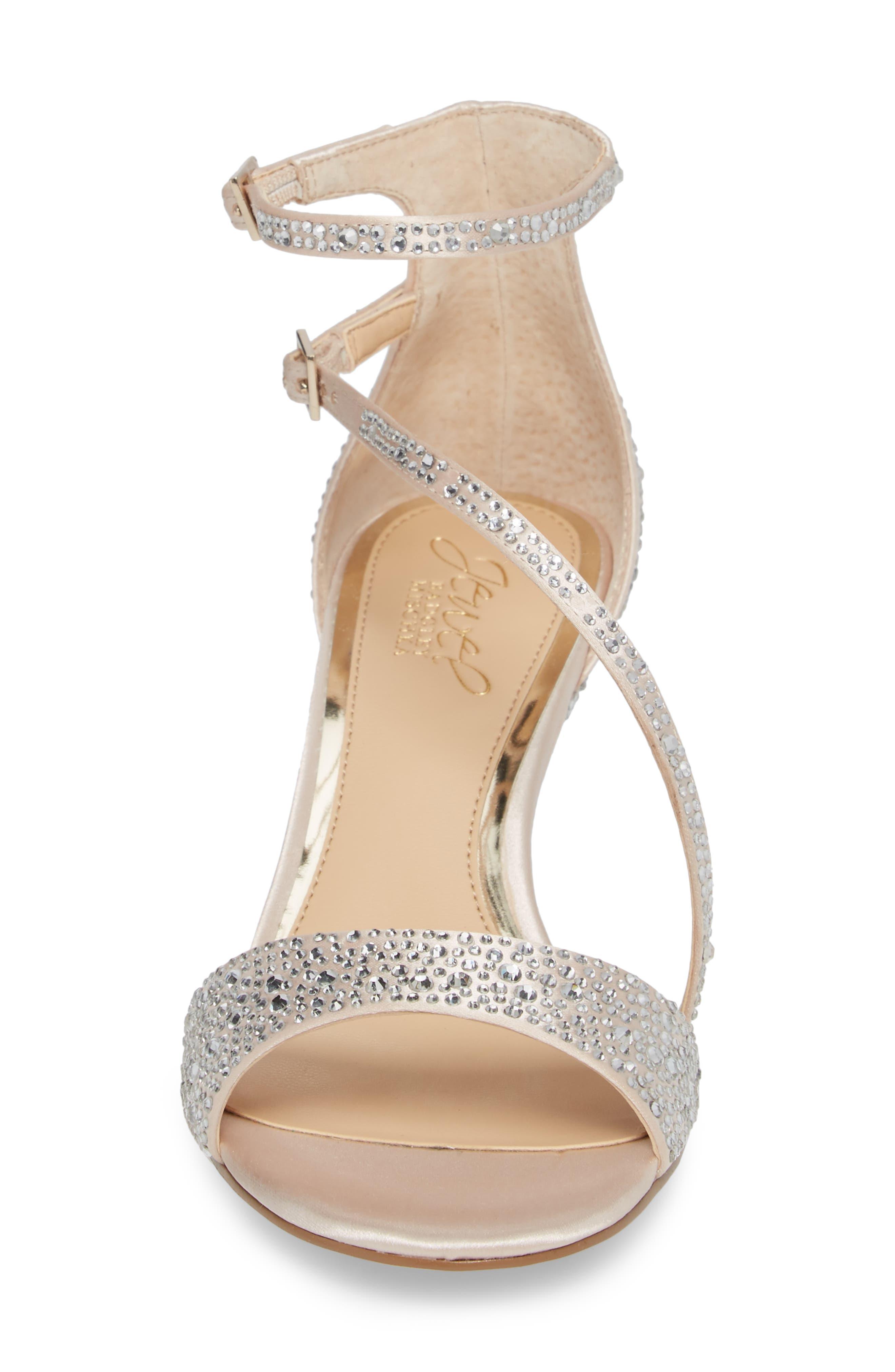 Tangerine Crystal Embellished Sandal,                             Alternate thumbnail 4, color,                             Champagne Satin