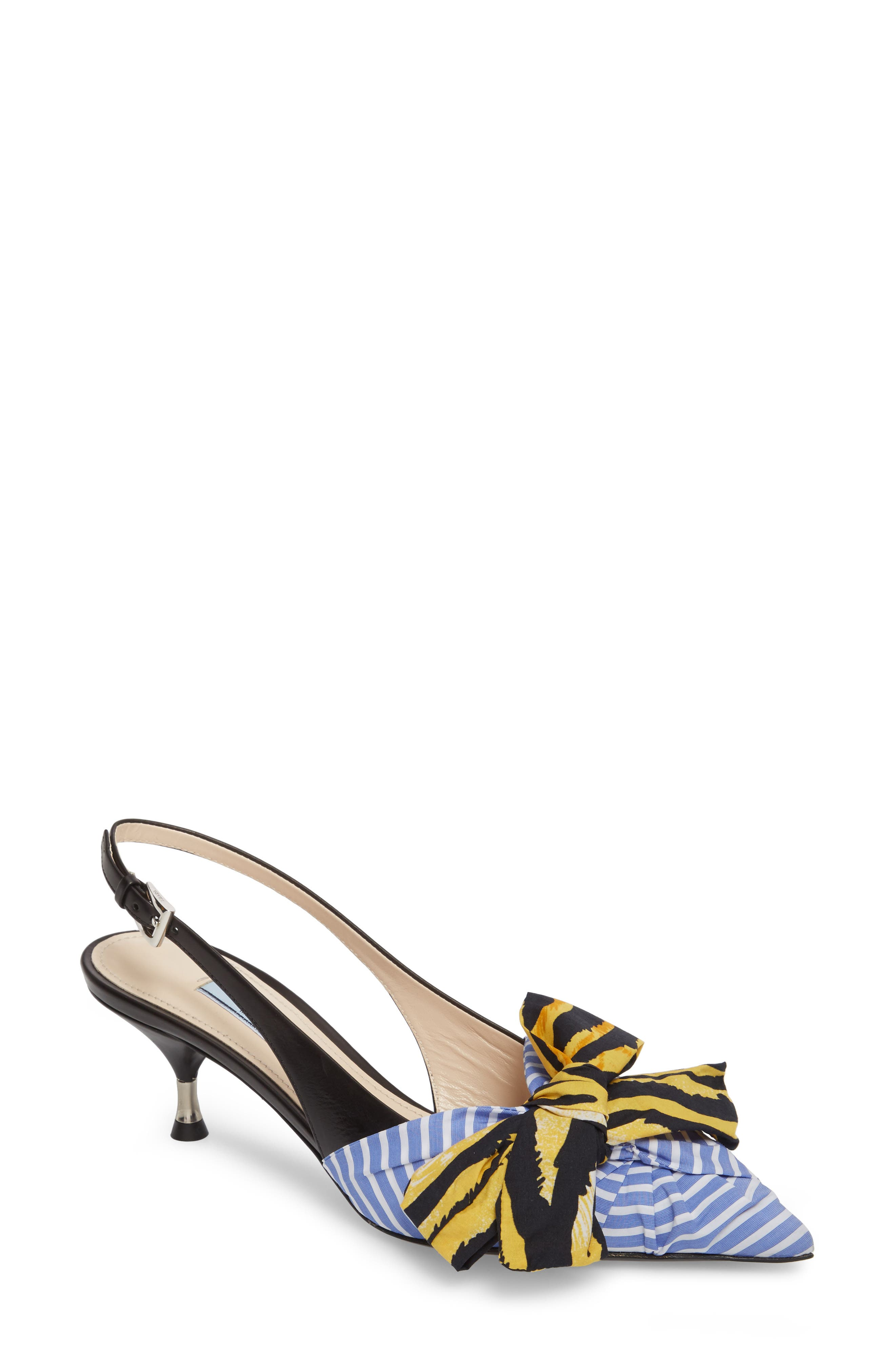 Bow Pointy Toe Pump,                         Main,                         color, Blue