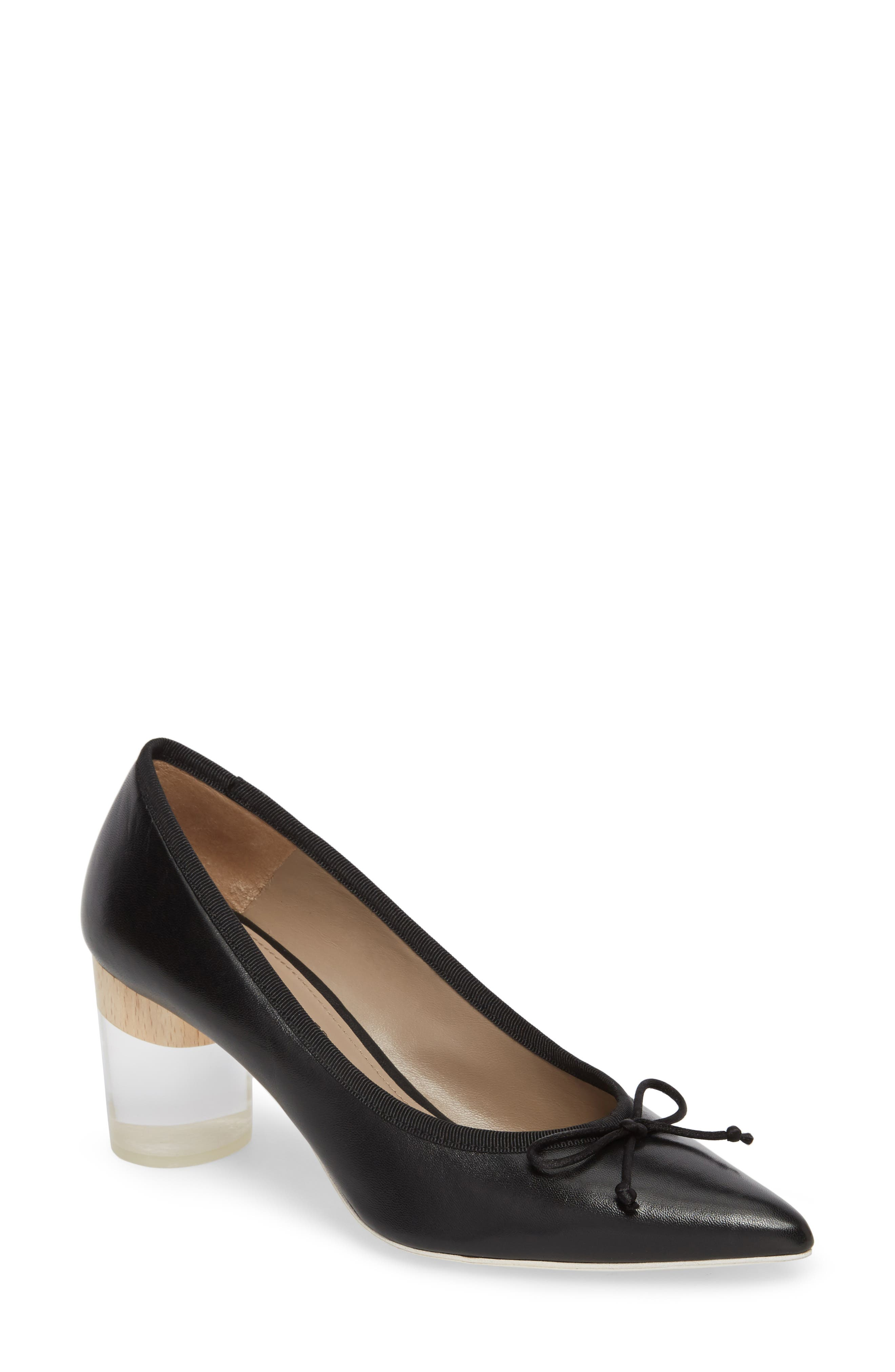 Asia Pointy Toe Pump,                             Main thumbnail 1, color,                             Black Leather