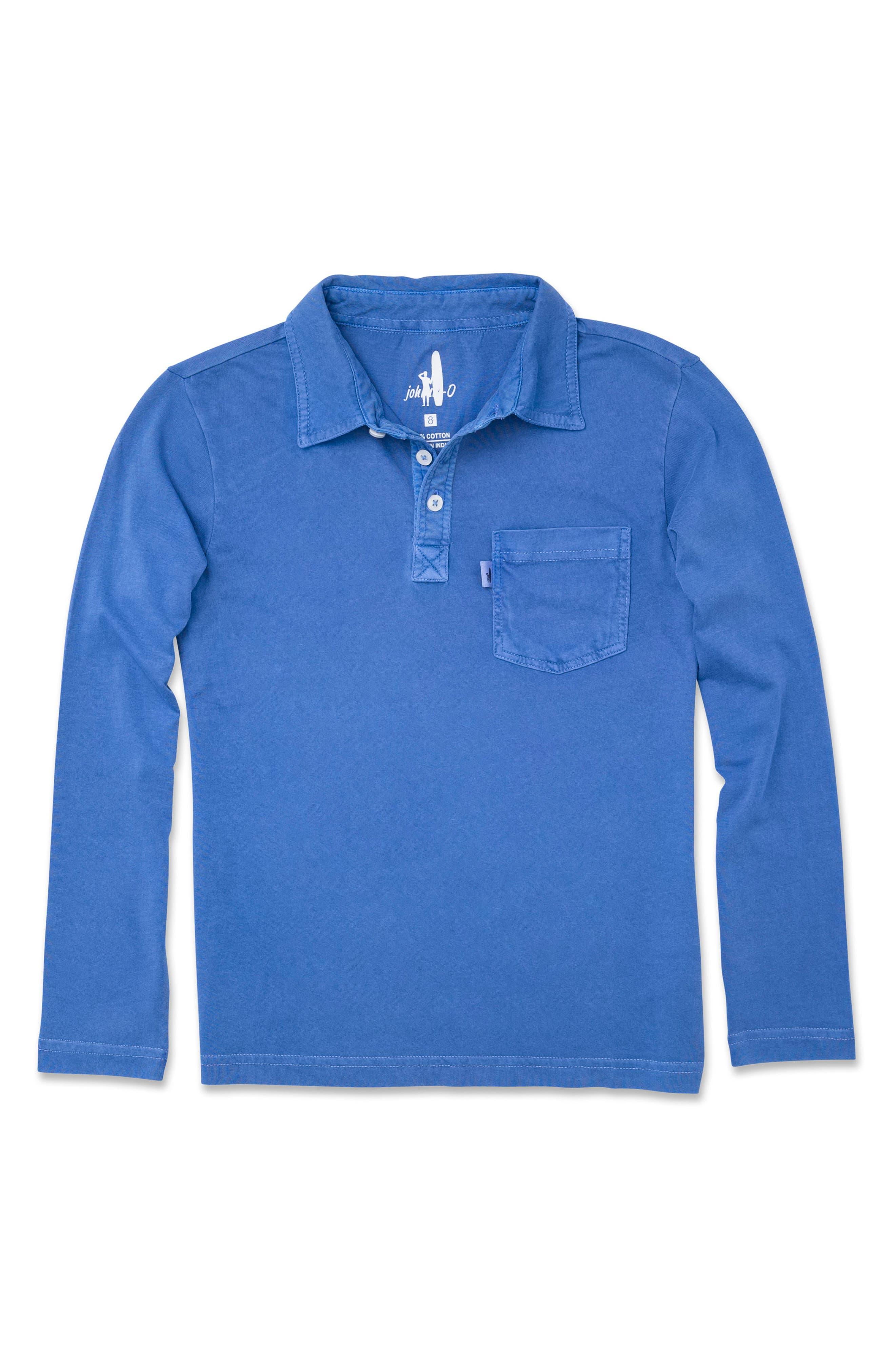 Carbon Long Sleeve Pocket Polo,                         Main,                         color, Laguna Blue