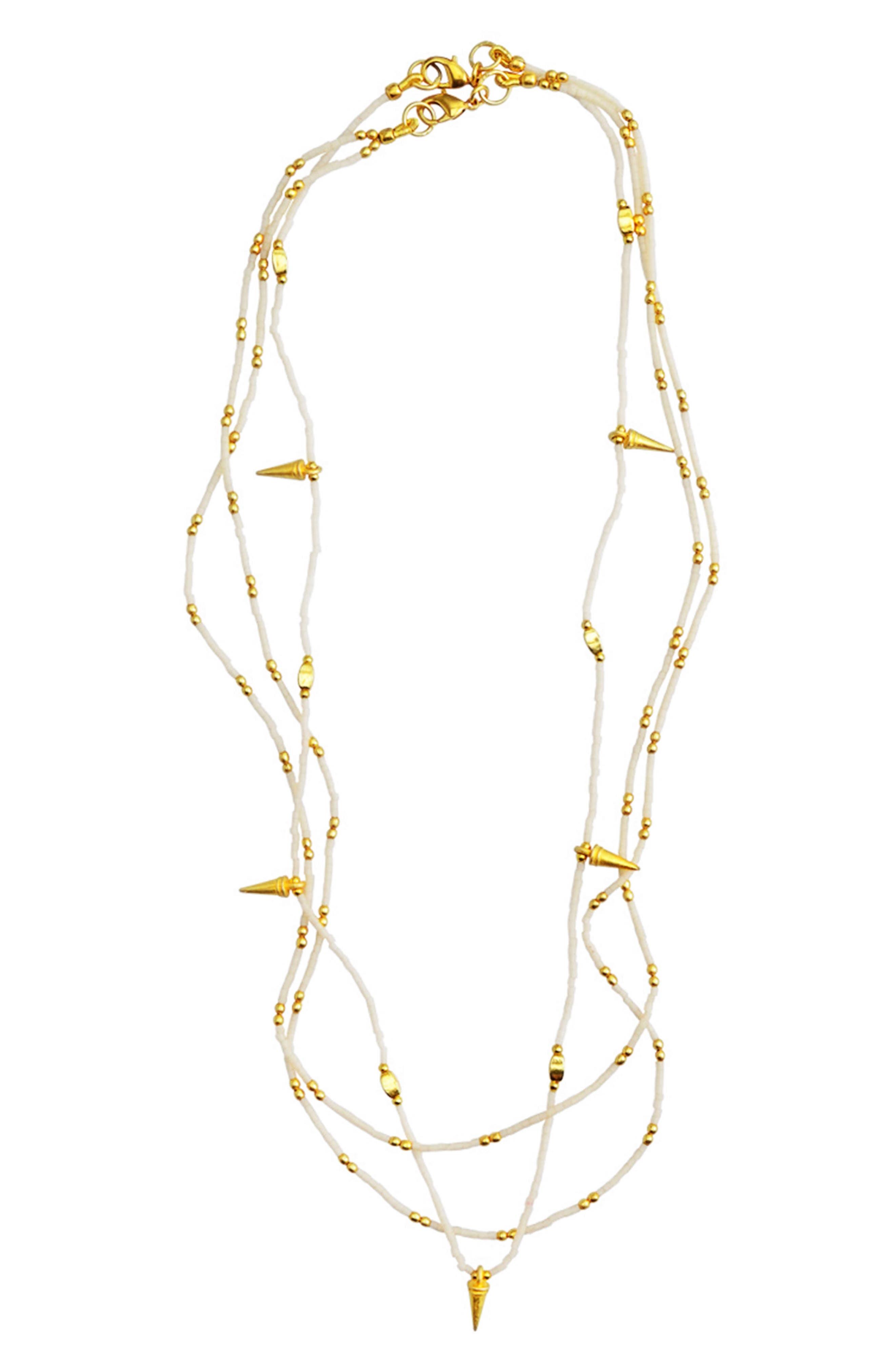 Fleur Set of 2 Necklaces,                             Main thumbnail 1, color,                             White