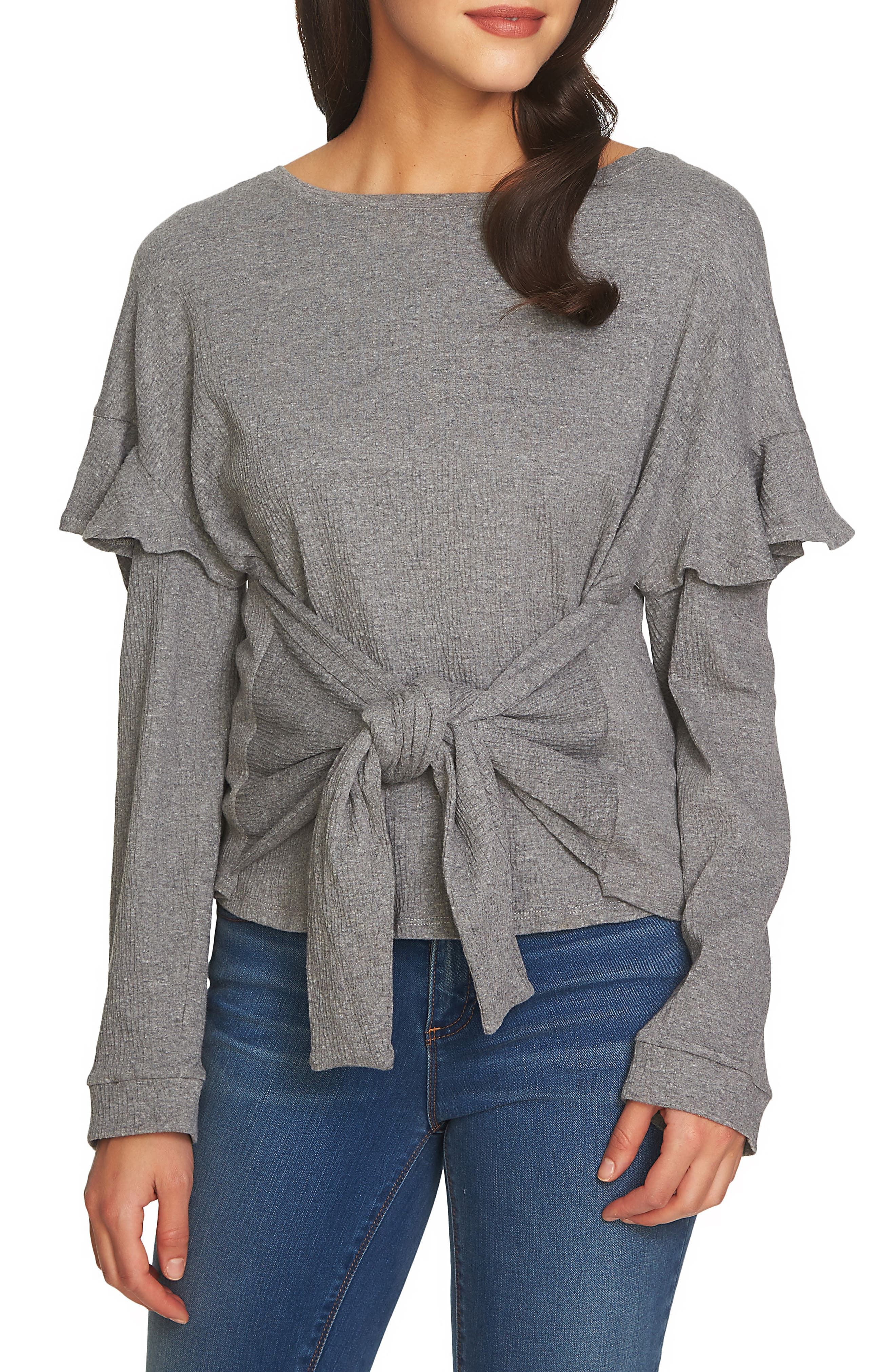 Tie Front Knit Top,                             Main thumbnail 1, color,                             Light Heather Grey