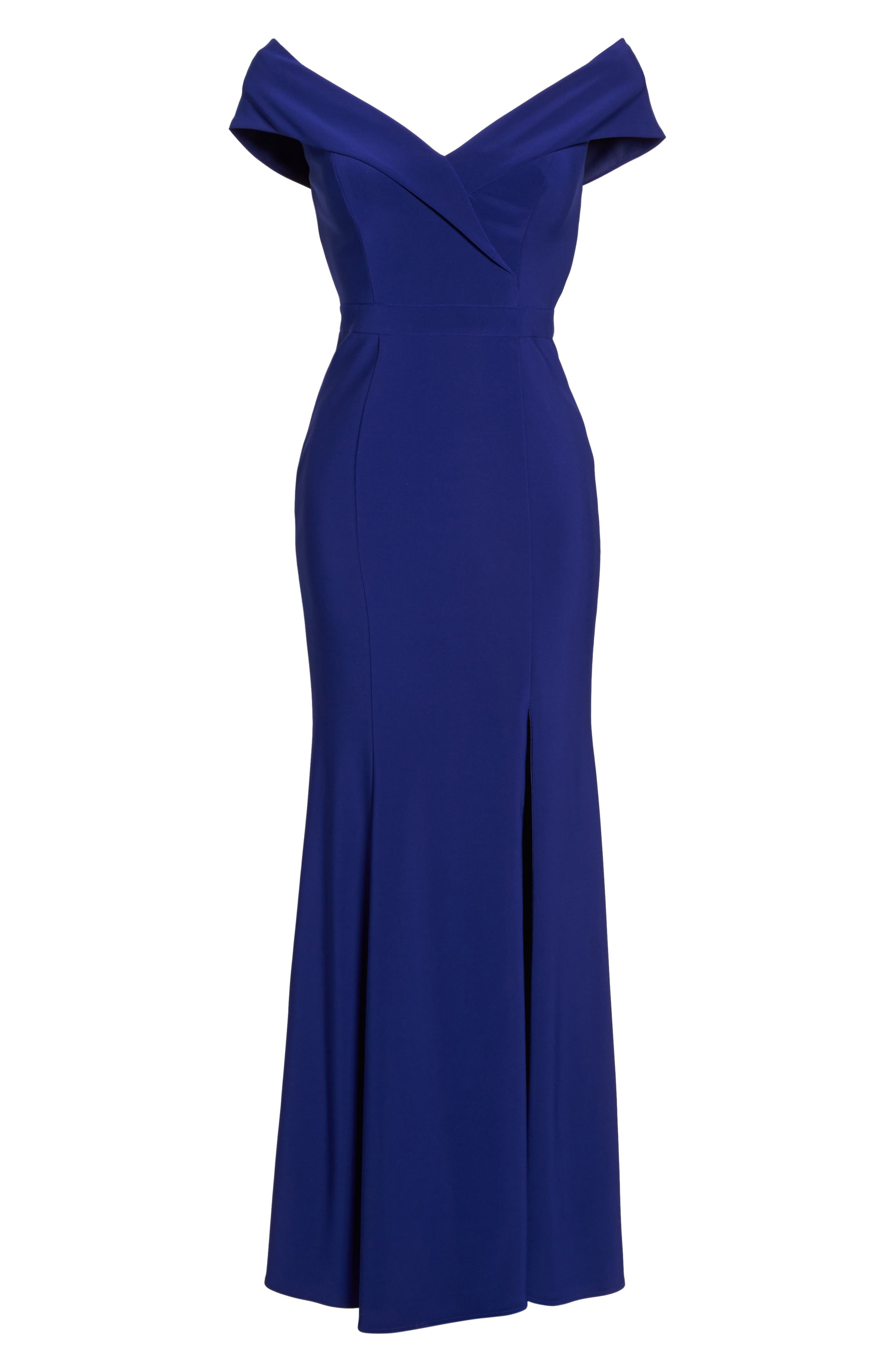 Off the Shoulder Gown,                             Alternate thumbnail 6, color,                             Electric Blue