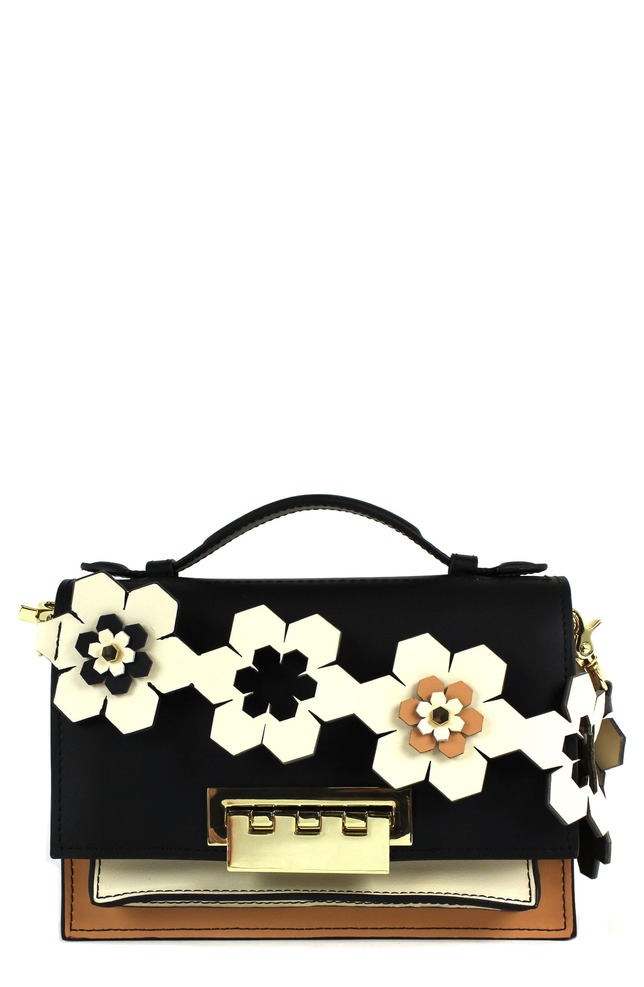 Earthette Calfskin Leather Accordion Shoulder Bag,                         Main,                         color, Black