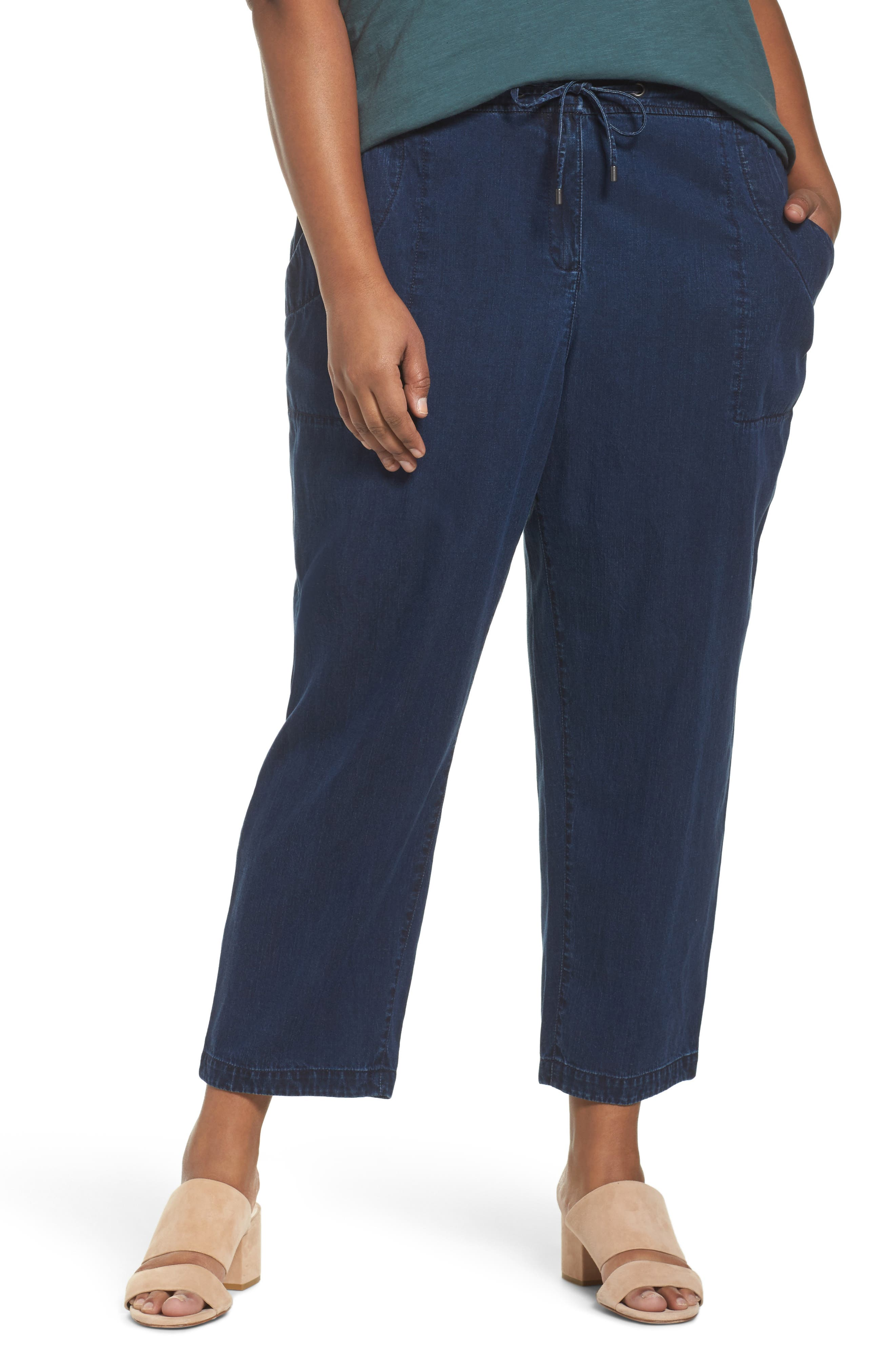 Alternate Image 1 Selected - Eileen Fisher Slouchy Denim Ankle Pants (Plus Size)