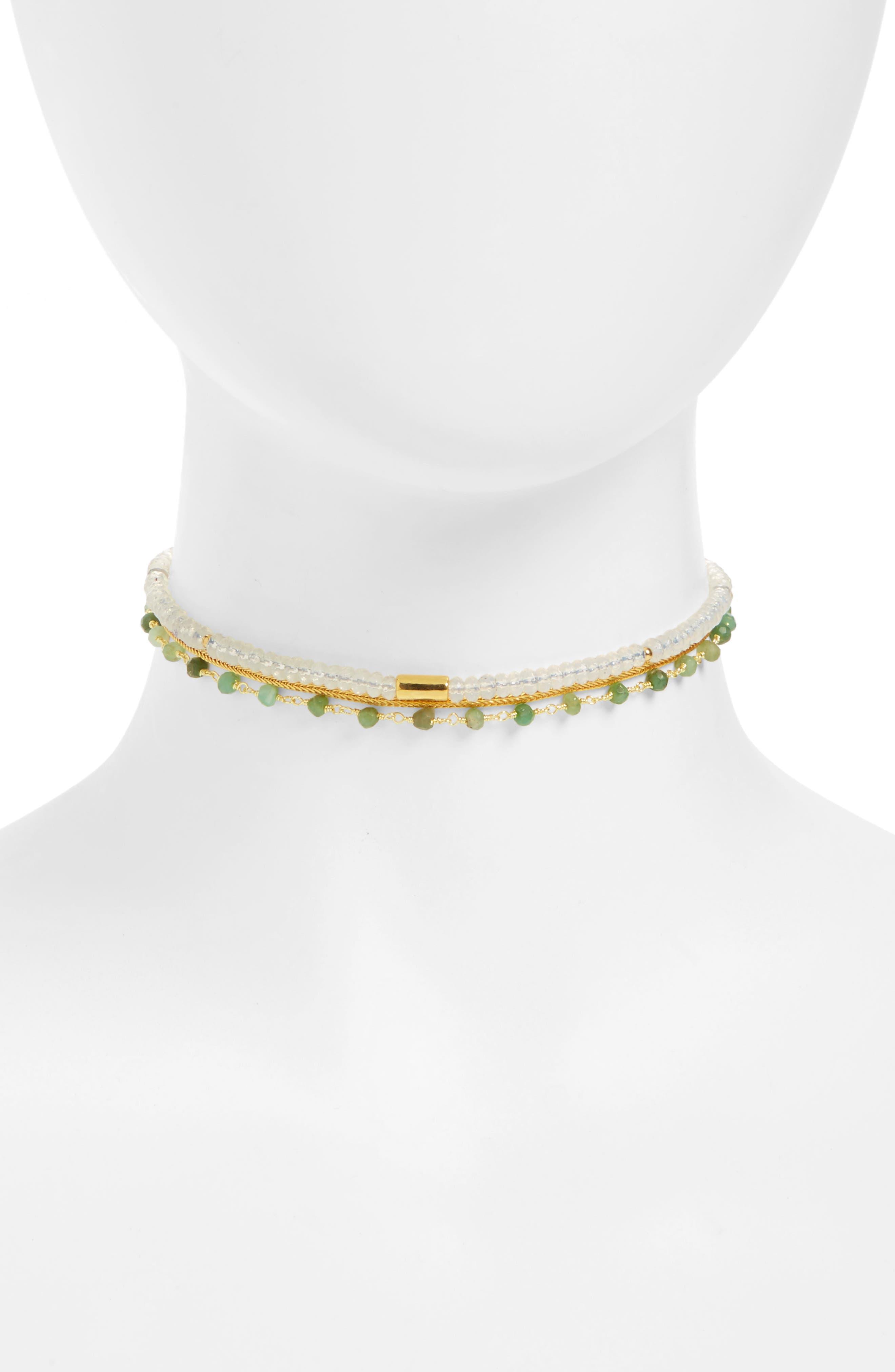 Love's Affect Semiprecious Stone Rosary Choker,                         Main,                         color, White
