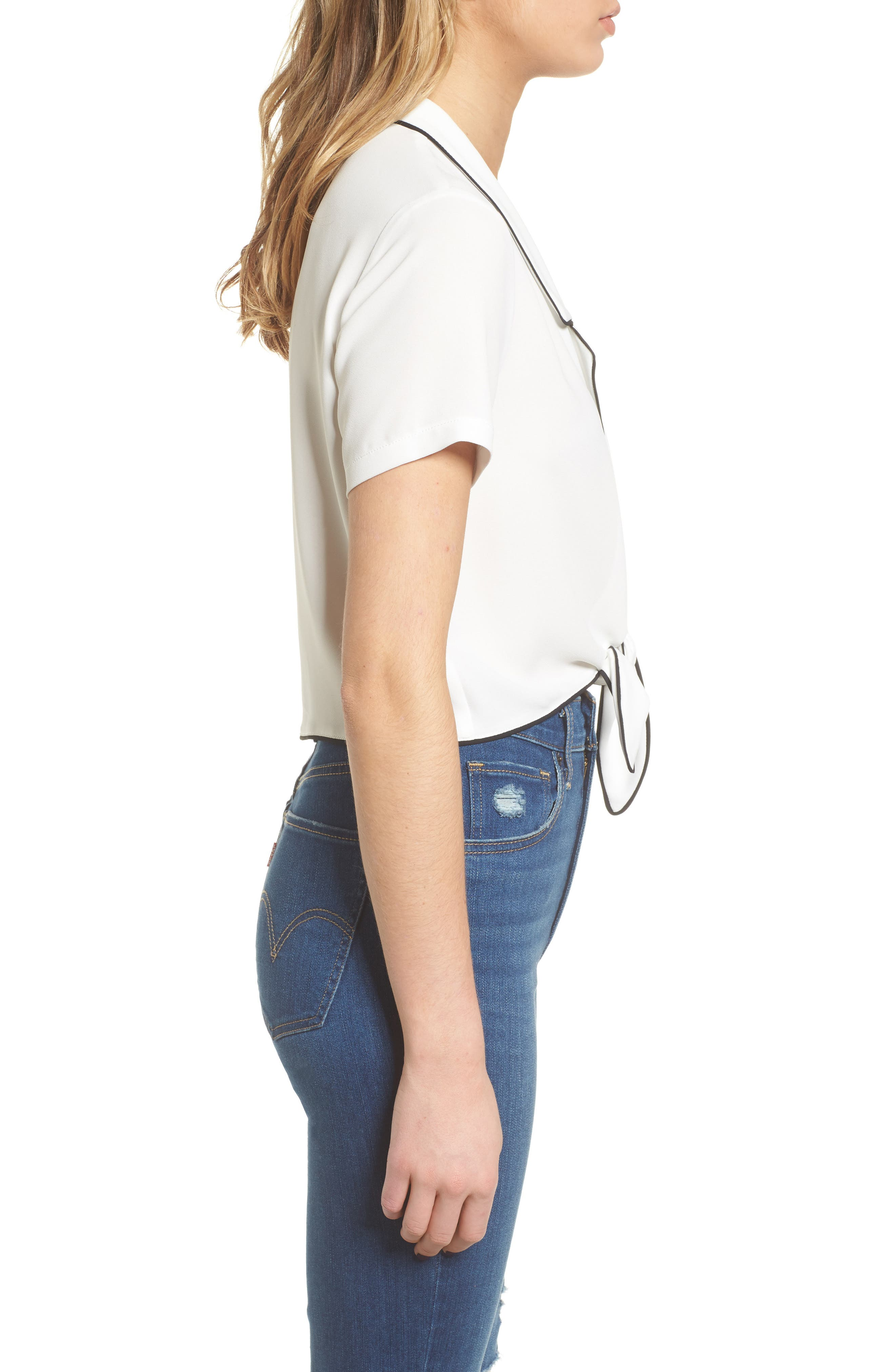 Tie Front Button-Up Shirt,                             Alternate thumbnail 3, color,                             White/ Black