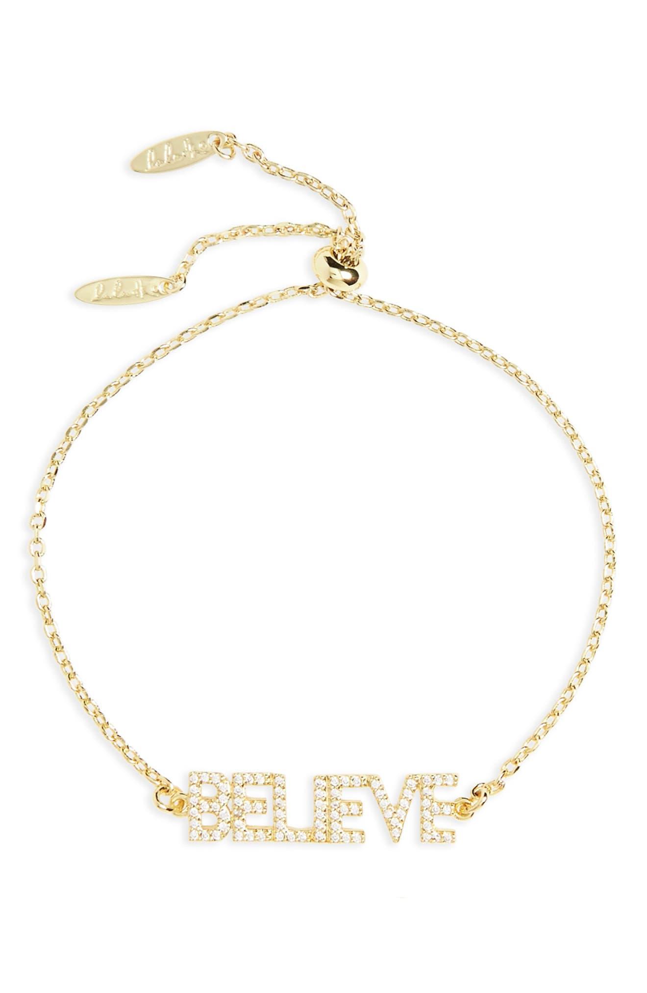 Believe Bracelet,                         Main,                         color, Gold