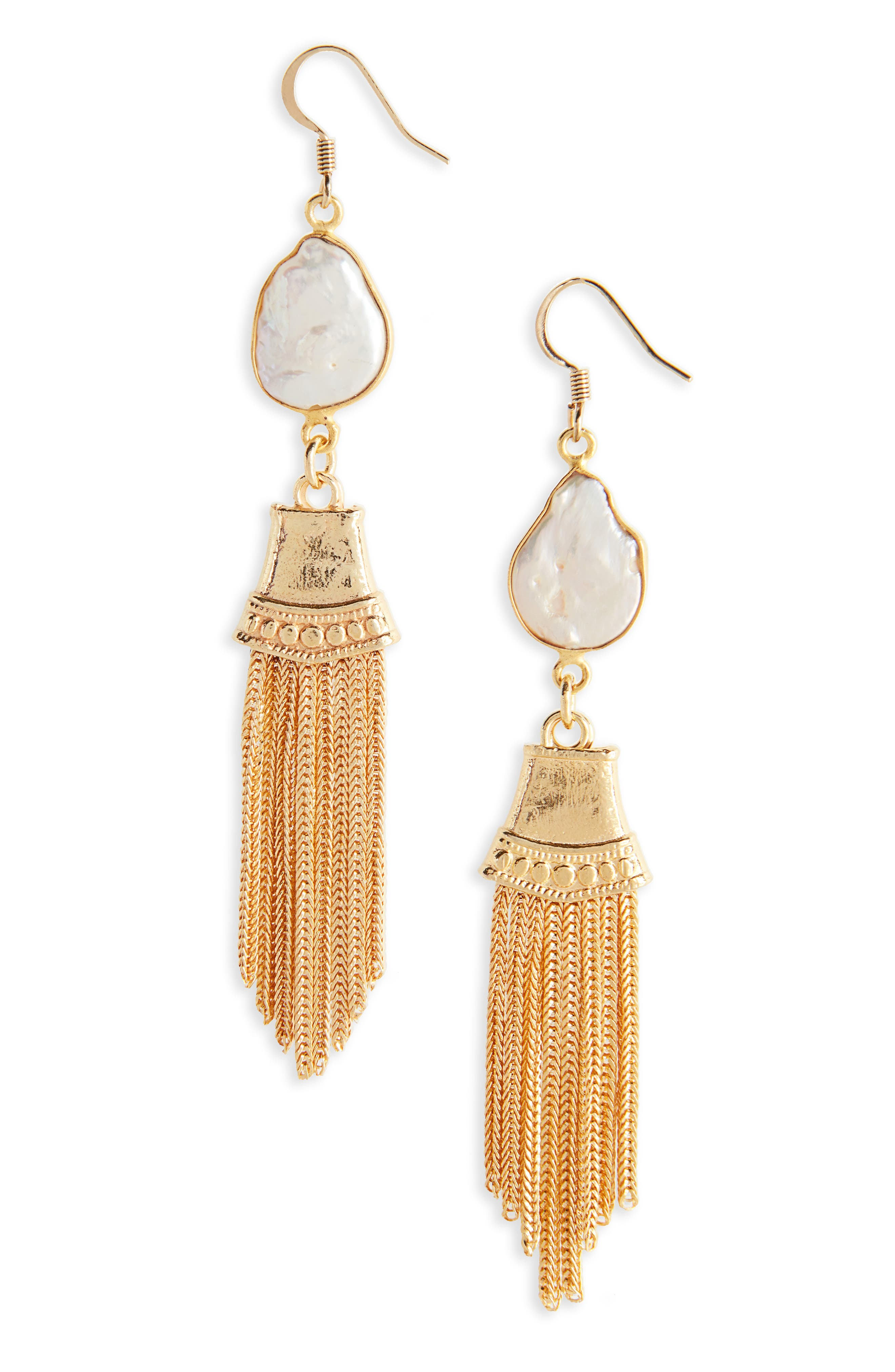 Love's Affect Kaysha Luxe Pearl Drop Earrings,                             Main thumbnail 1, color,                             Gold
