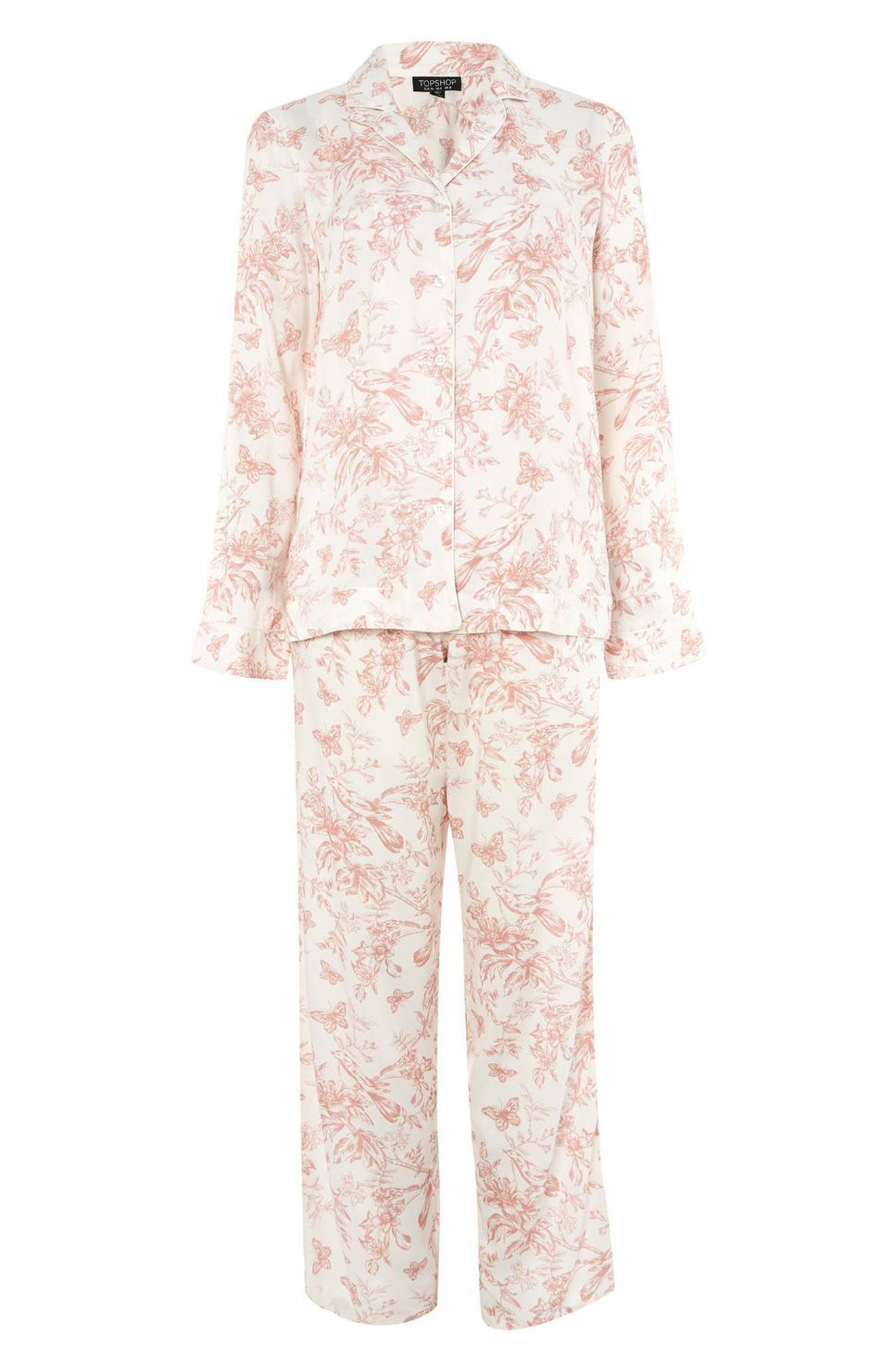 French Floral Pajamas,                             Alternate thumbnail 3, color,                             Light Pink Multi