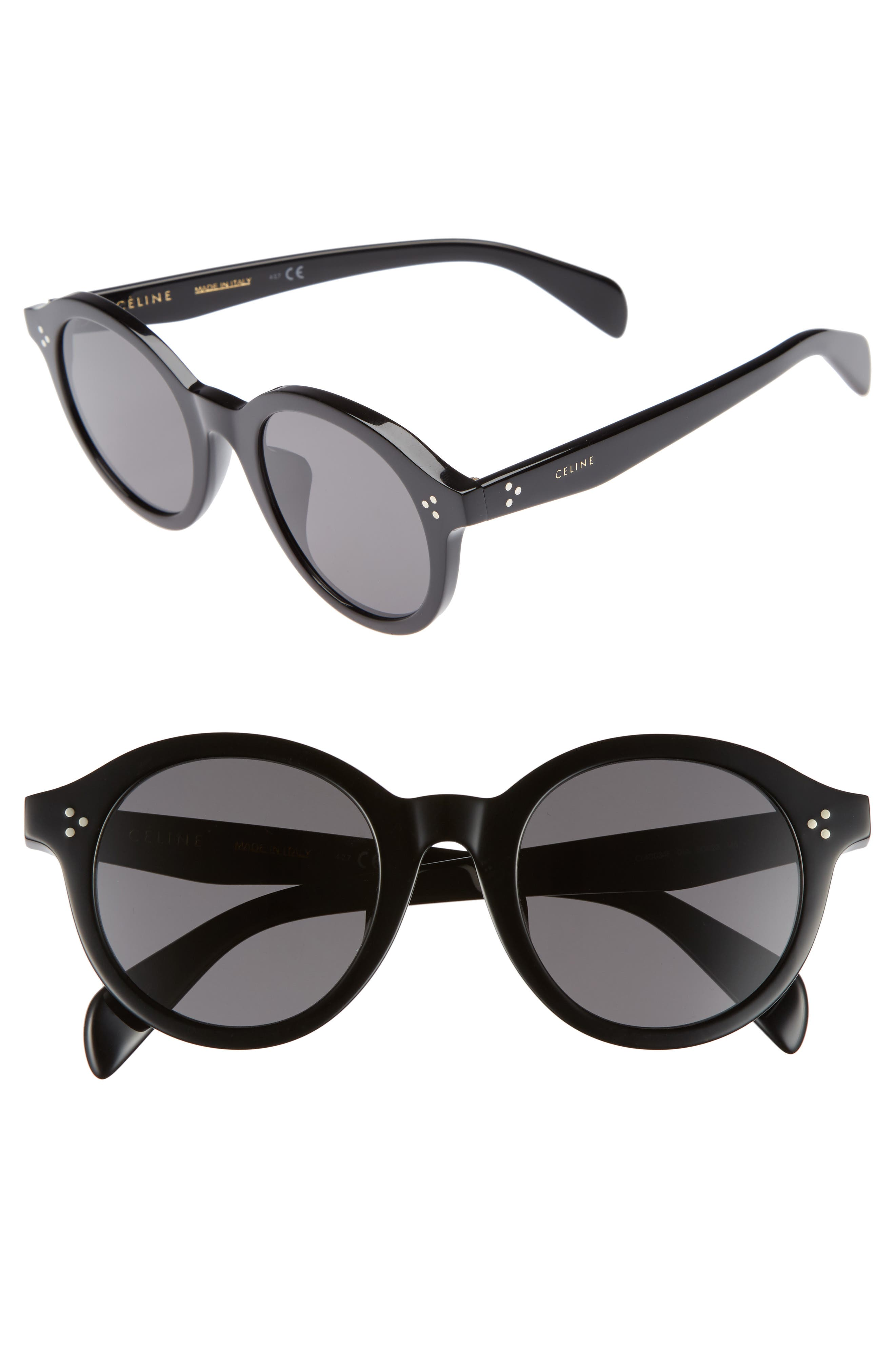 Special Fit 50mm Round Sunglasses,                         Main,                         color, Black/ Smoke