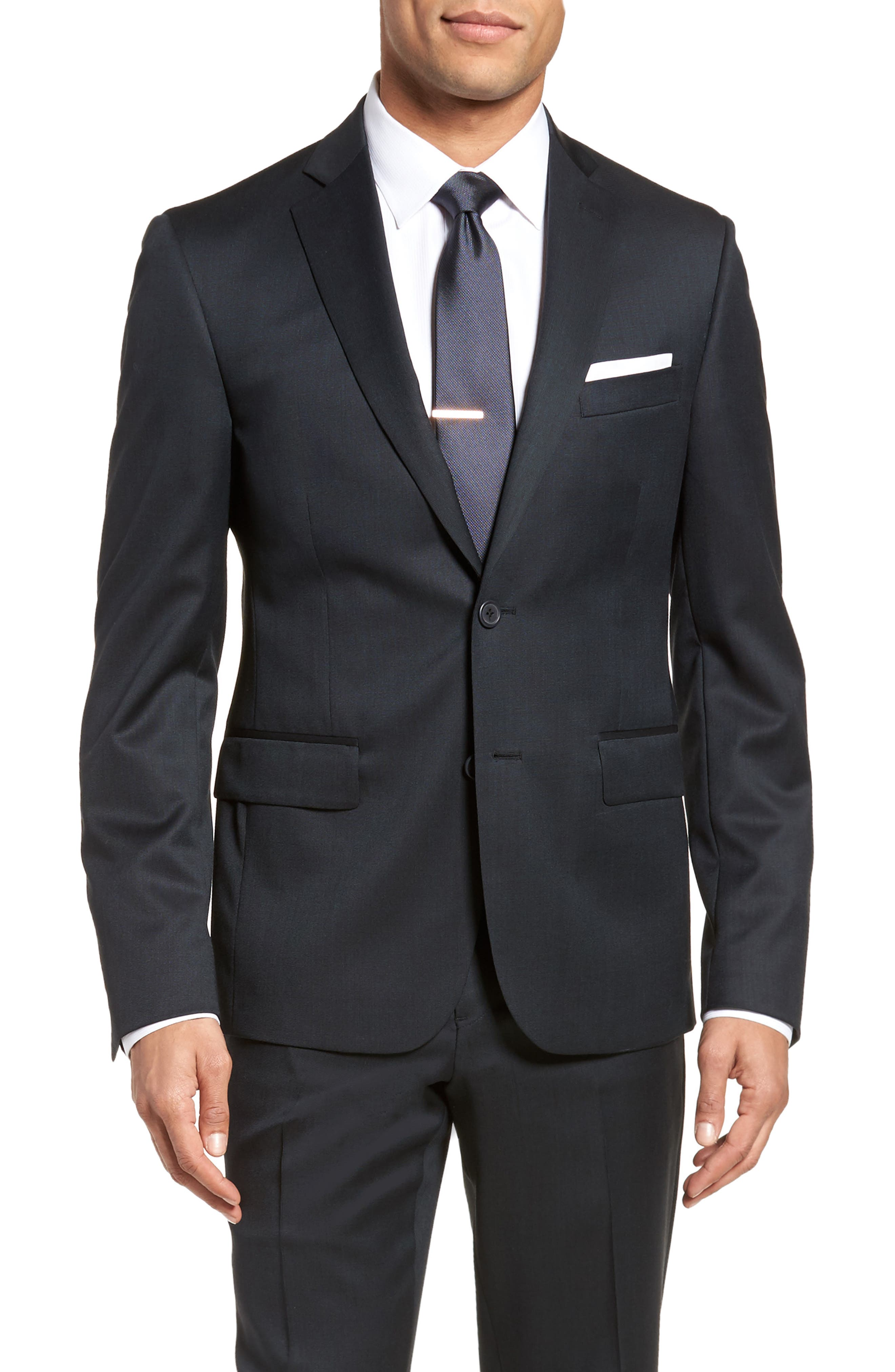 Extra Trim Fit Solid Wool Suit,                             Alternate thumbnail 5, color,                             Navy