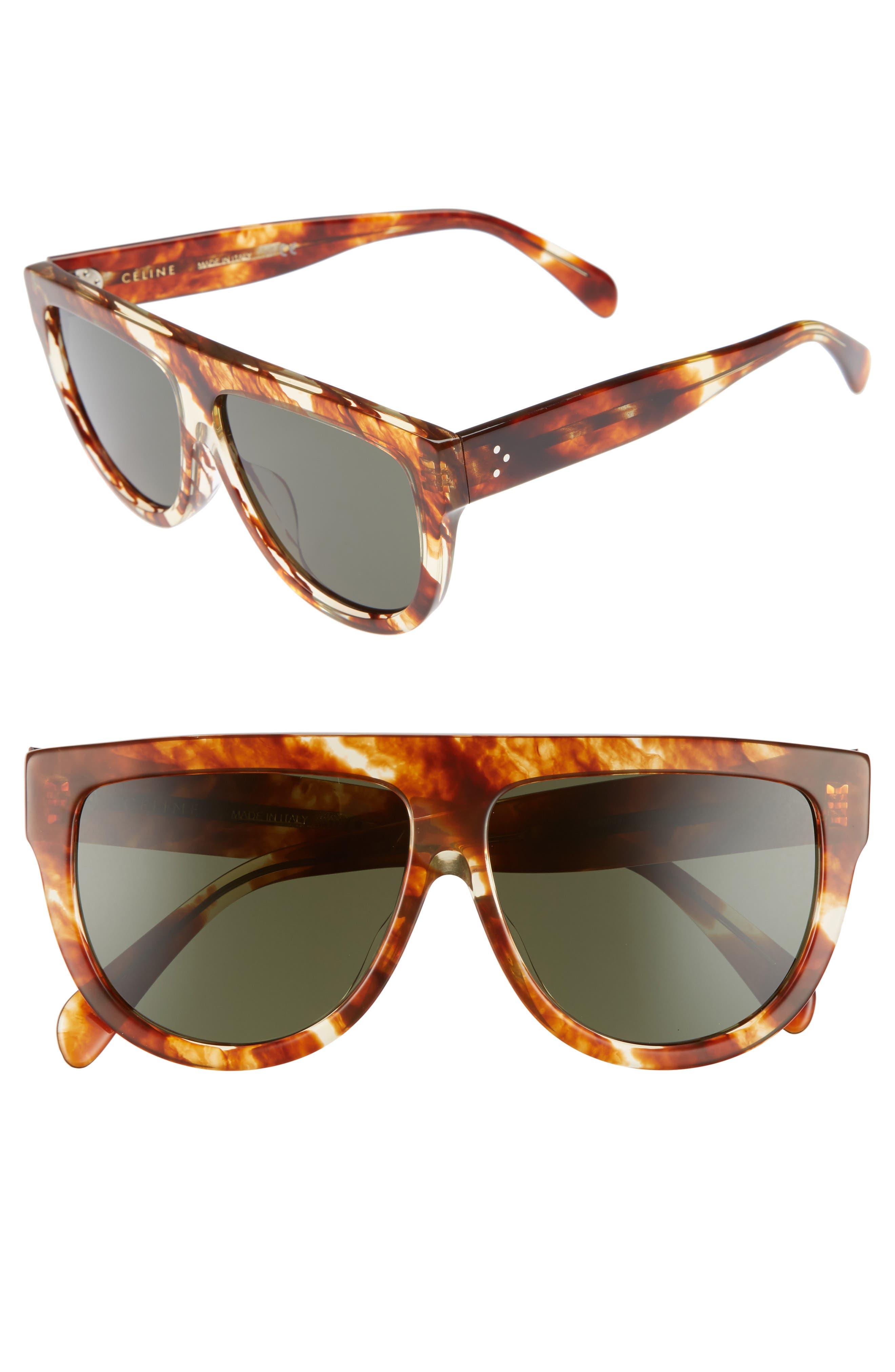 Special Fit 60mm Flat Top Sunglasses,                         Main,                         color, Striped Cognac Havana/ Green