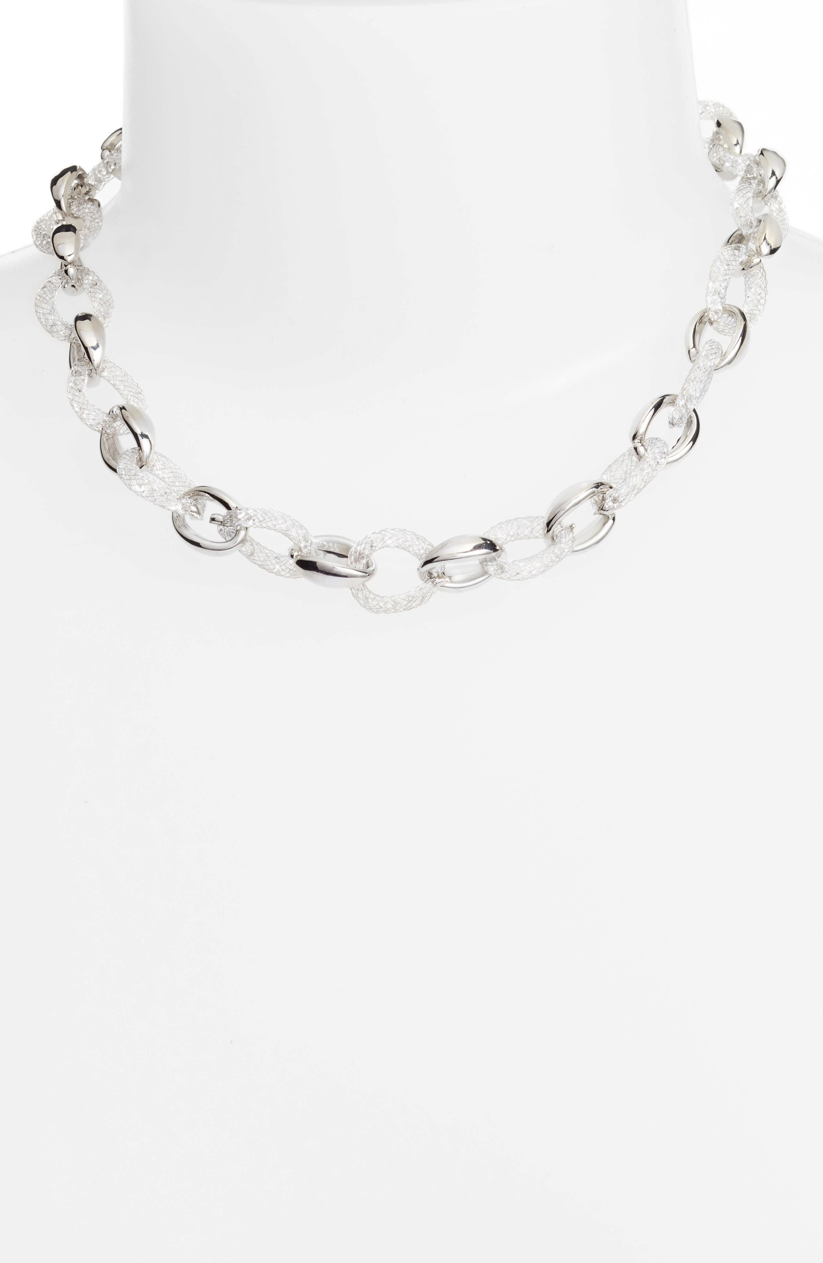 Marchella Chain Link Necklace,                             Alternate thumbnail 2, color,                             Silver