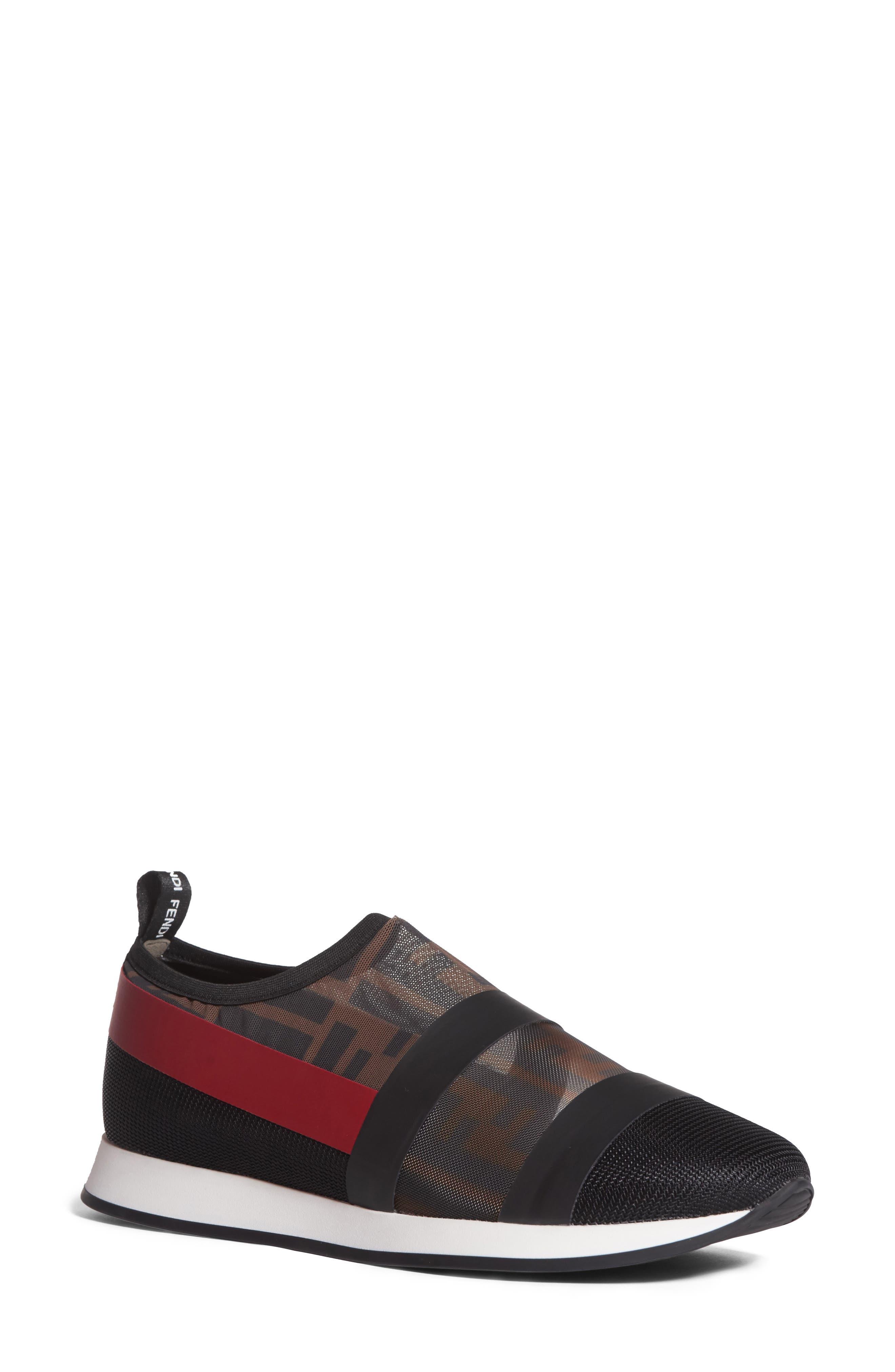 Logo Slip-On Sneaker,                             Main thumbnail 1, color,                             Black/ Red
