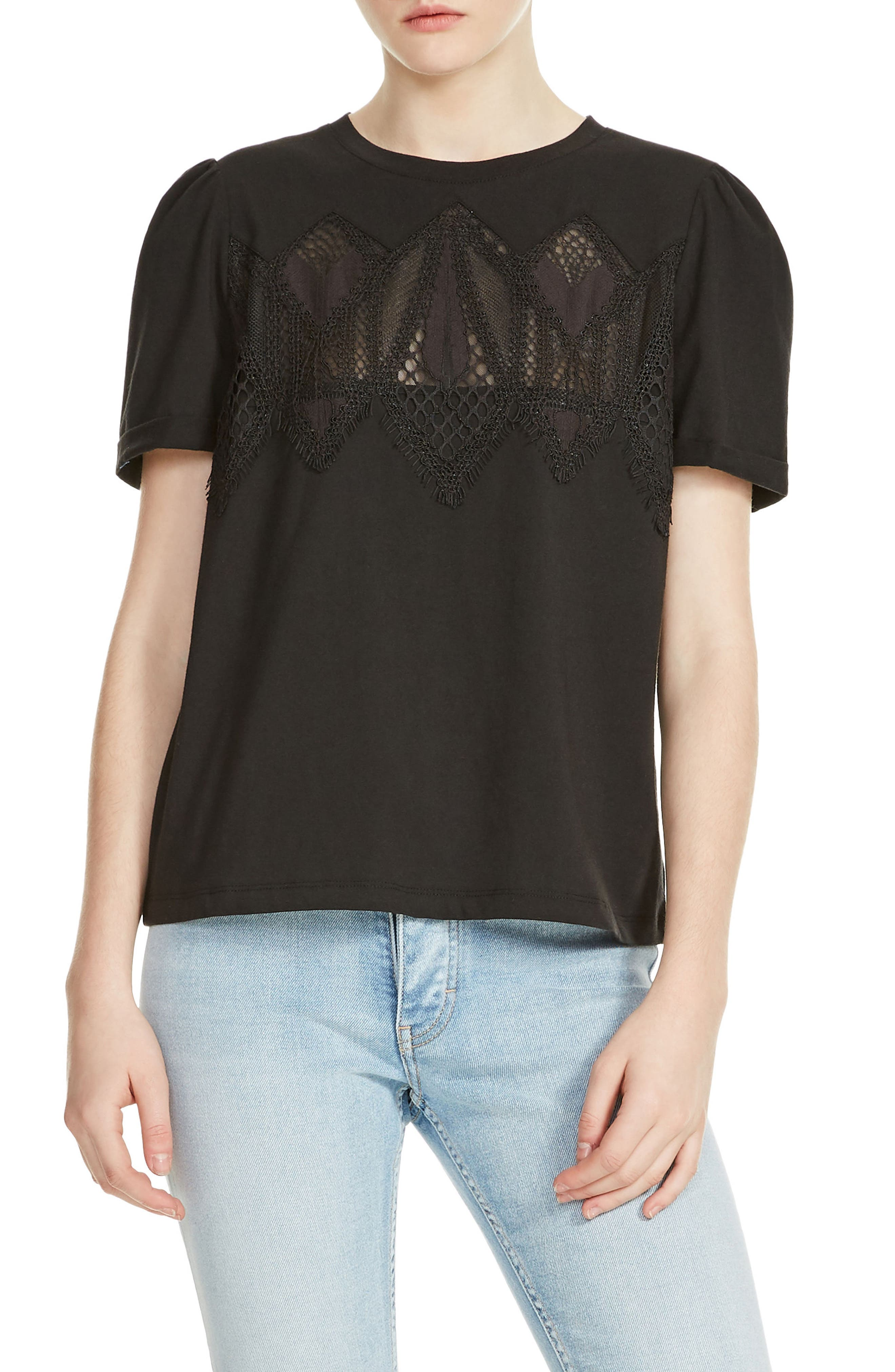 Tody Lace Detail Cotton Tee,                         Main,                         color, Black 210