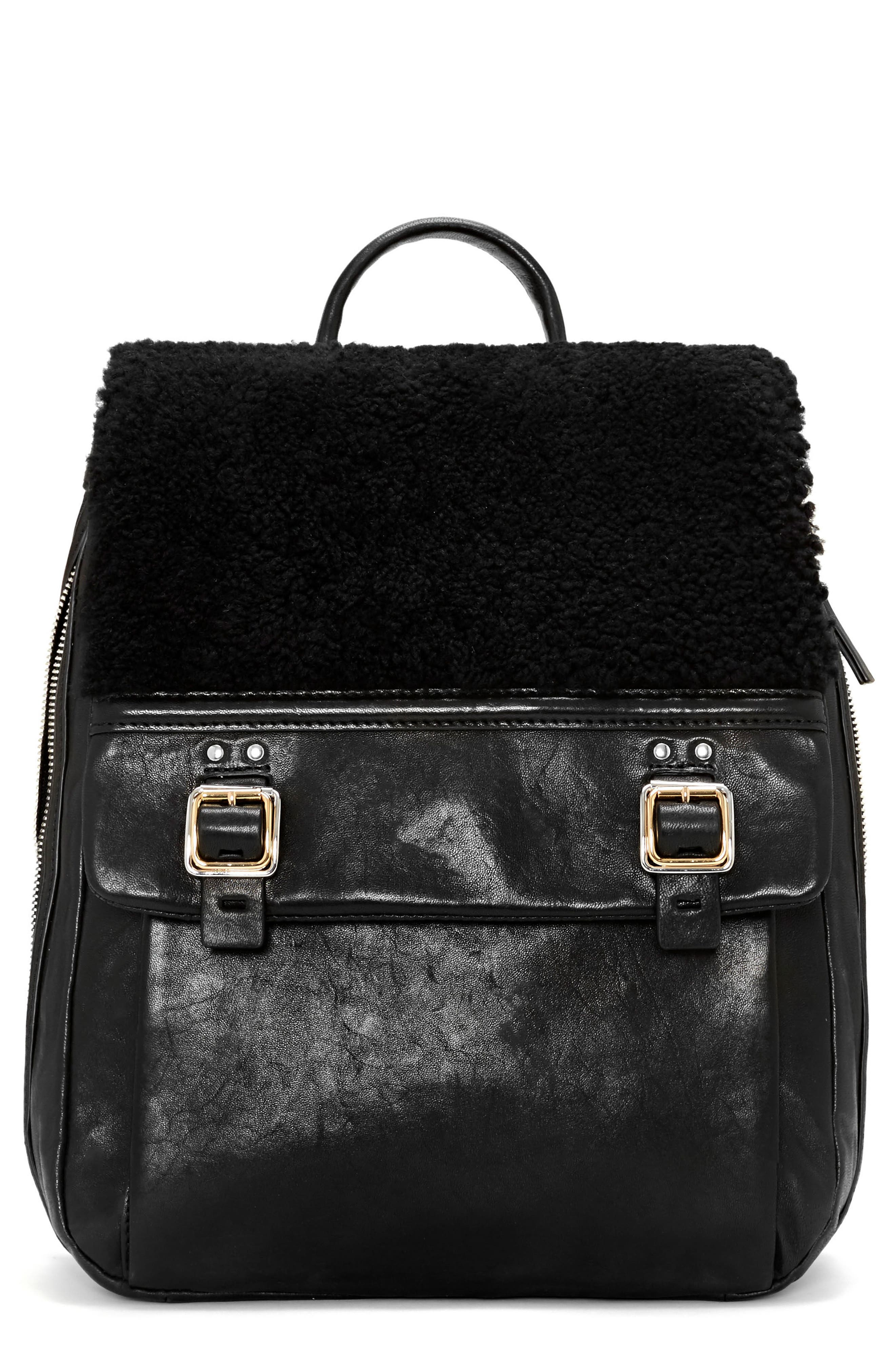 Delos Dome Leather & Genuine Shearling Backpack,                             Main thumbnail 1, color,                             Nero