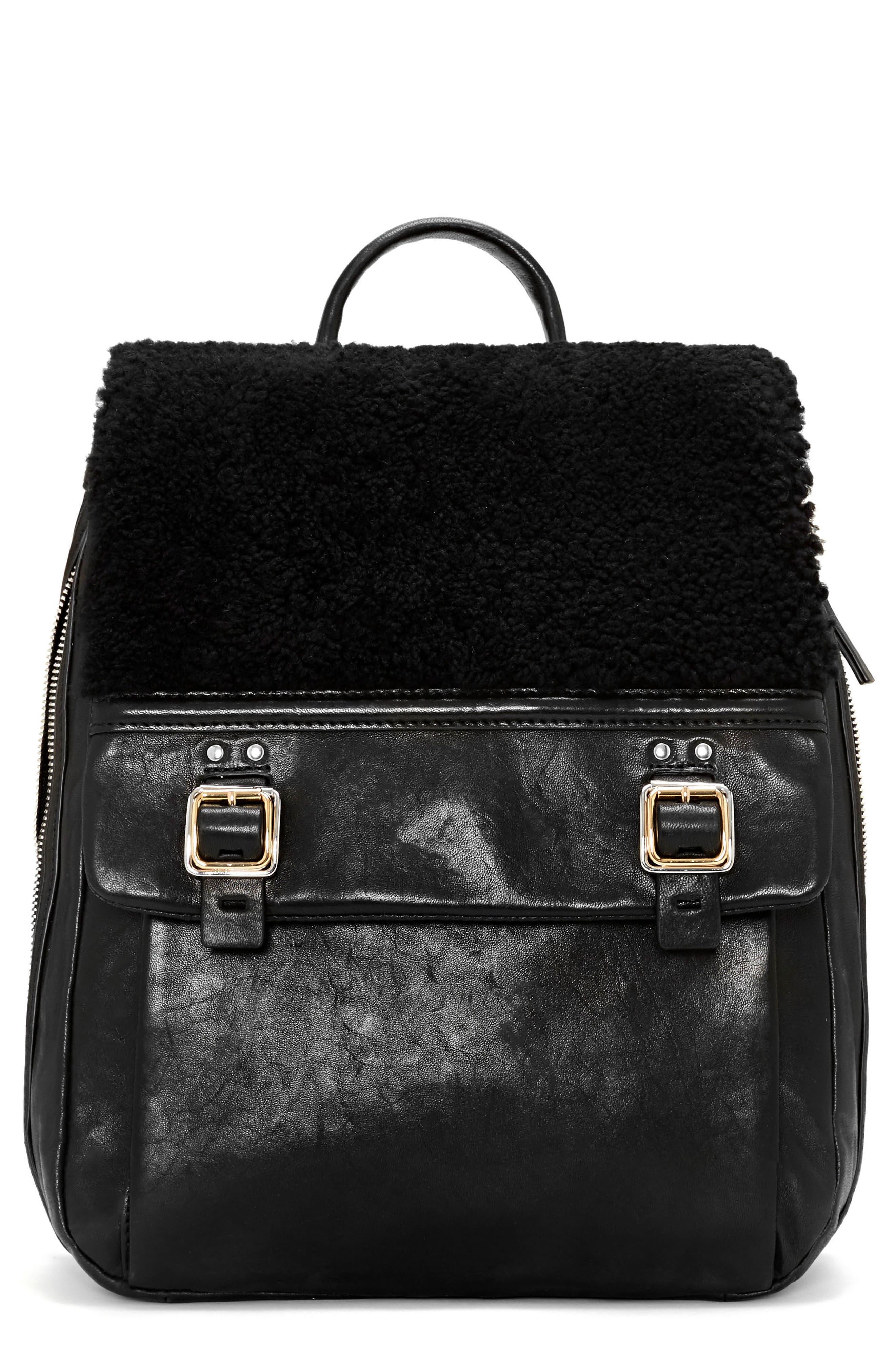 Delos Dome Leather & Genuine Shearling Backpack,                         Main,                         color, Nero