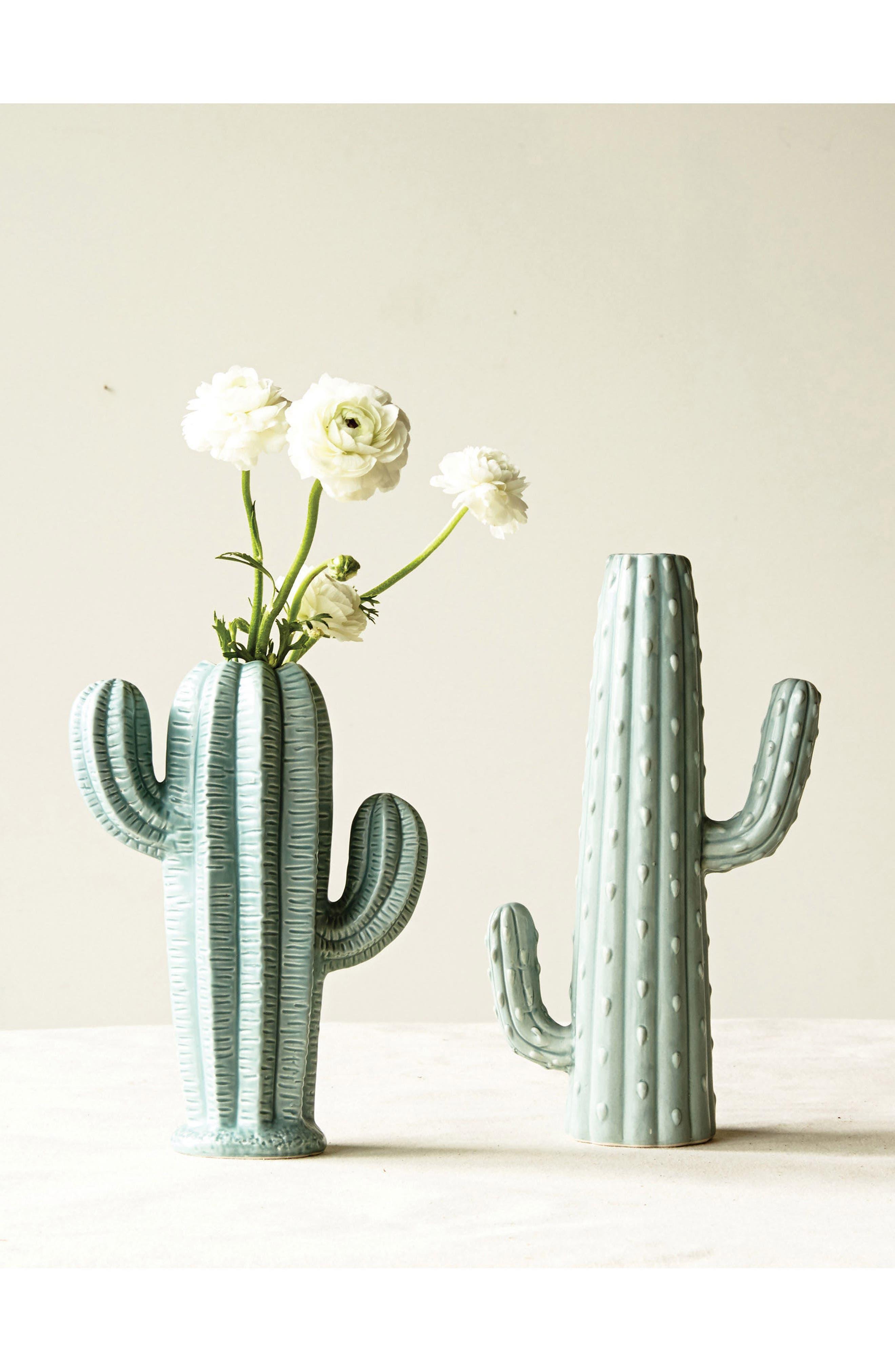 Cactus Stoneware Vase,                             Alternate thumbnail 2, color,                             Blue