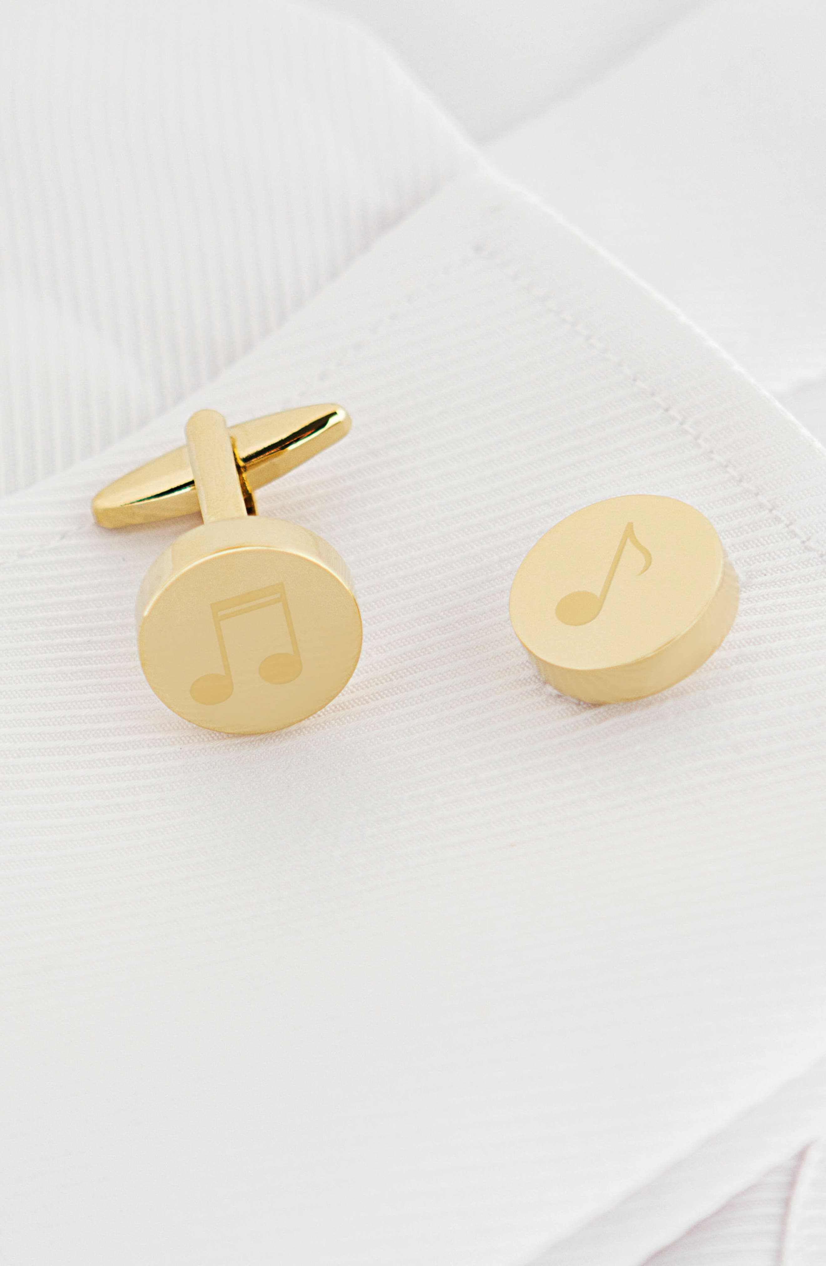 Music Notes Cuff Links,                             Alternate thumbnail 2, color,                             Gold