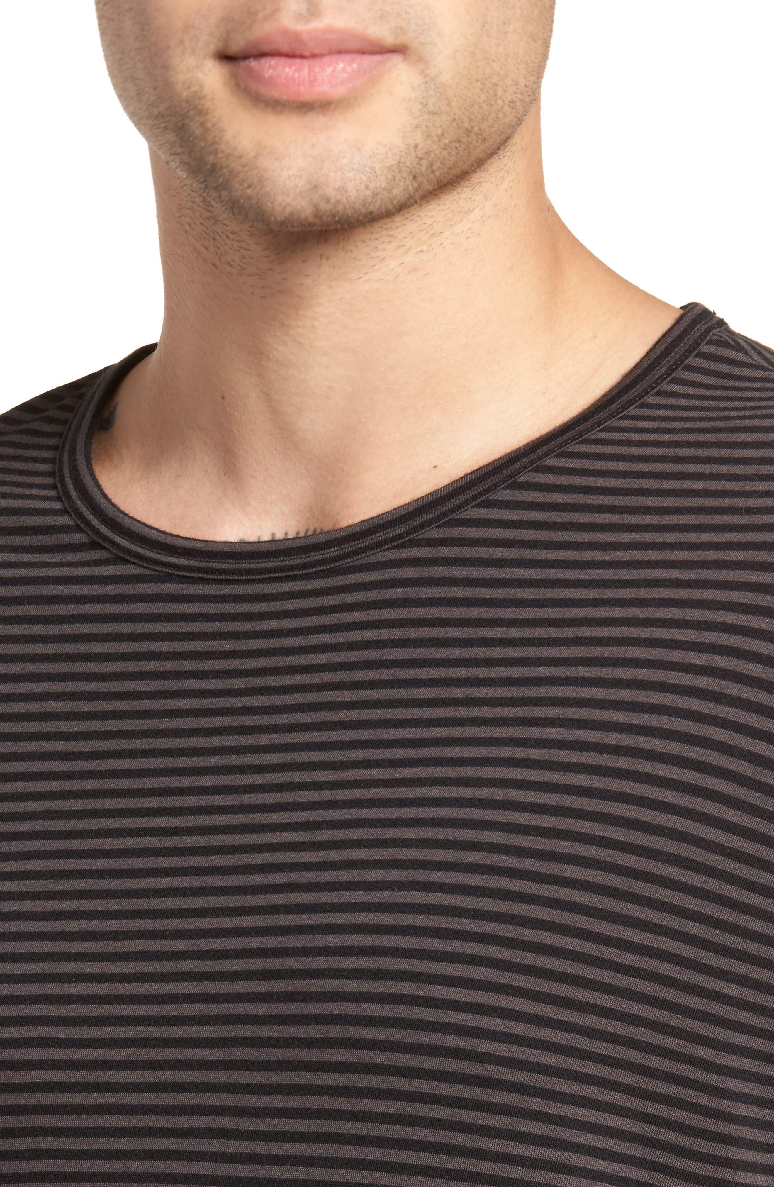 Feeder Stripe Long Sleeve Shirt,                             Alternate thumbnail 4, color,                             Black/ Stone Grey