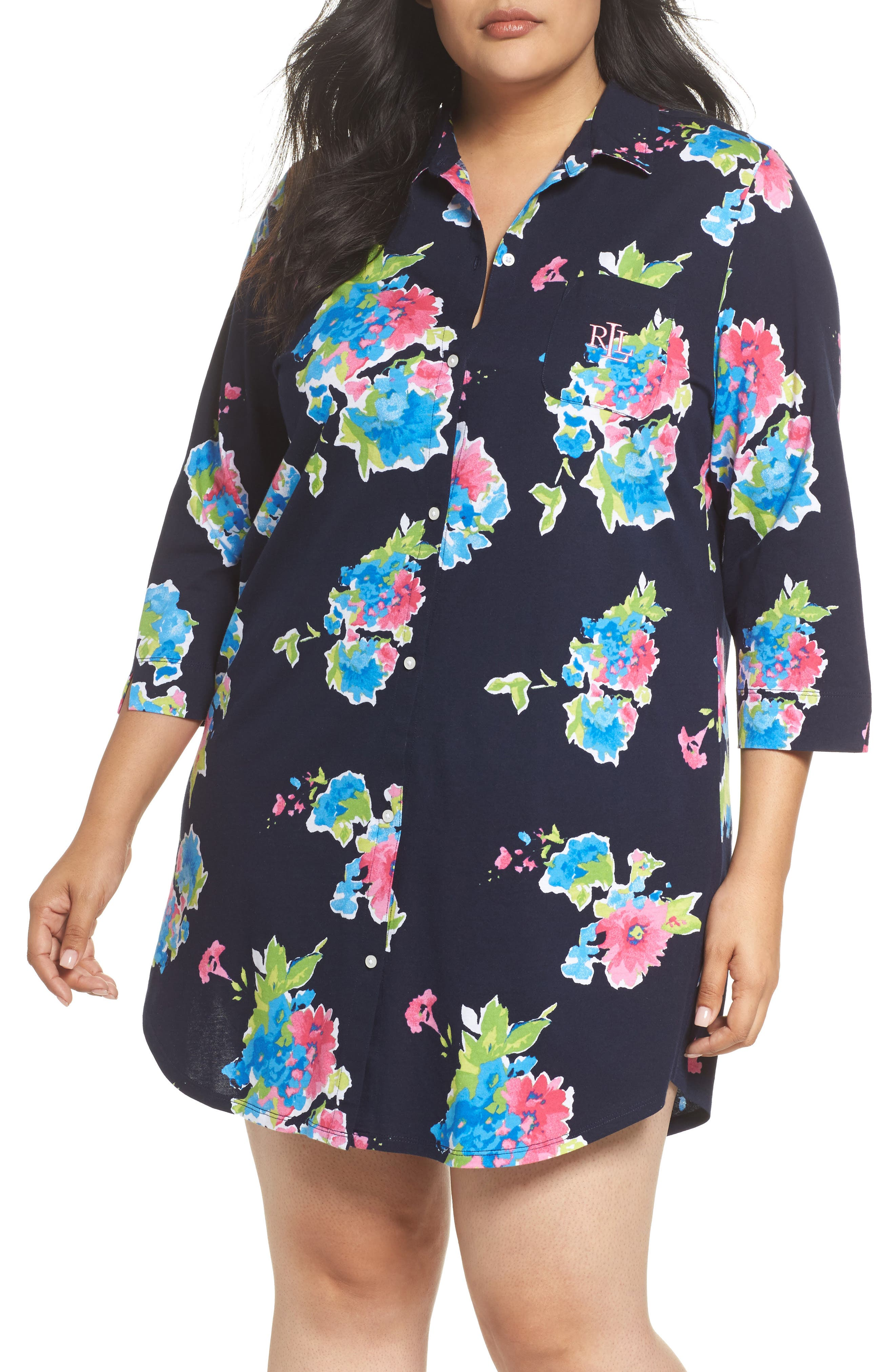 Sleep Shirt,                             Main thumbnail 1, color,                             Blue Floral