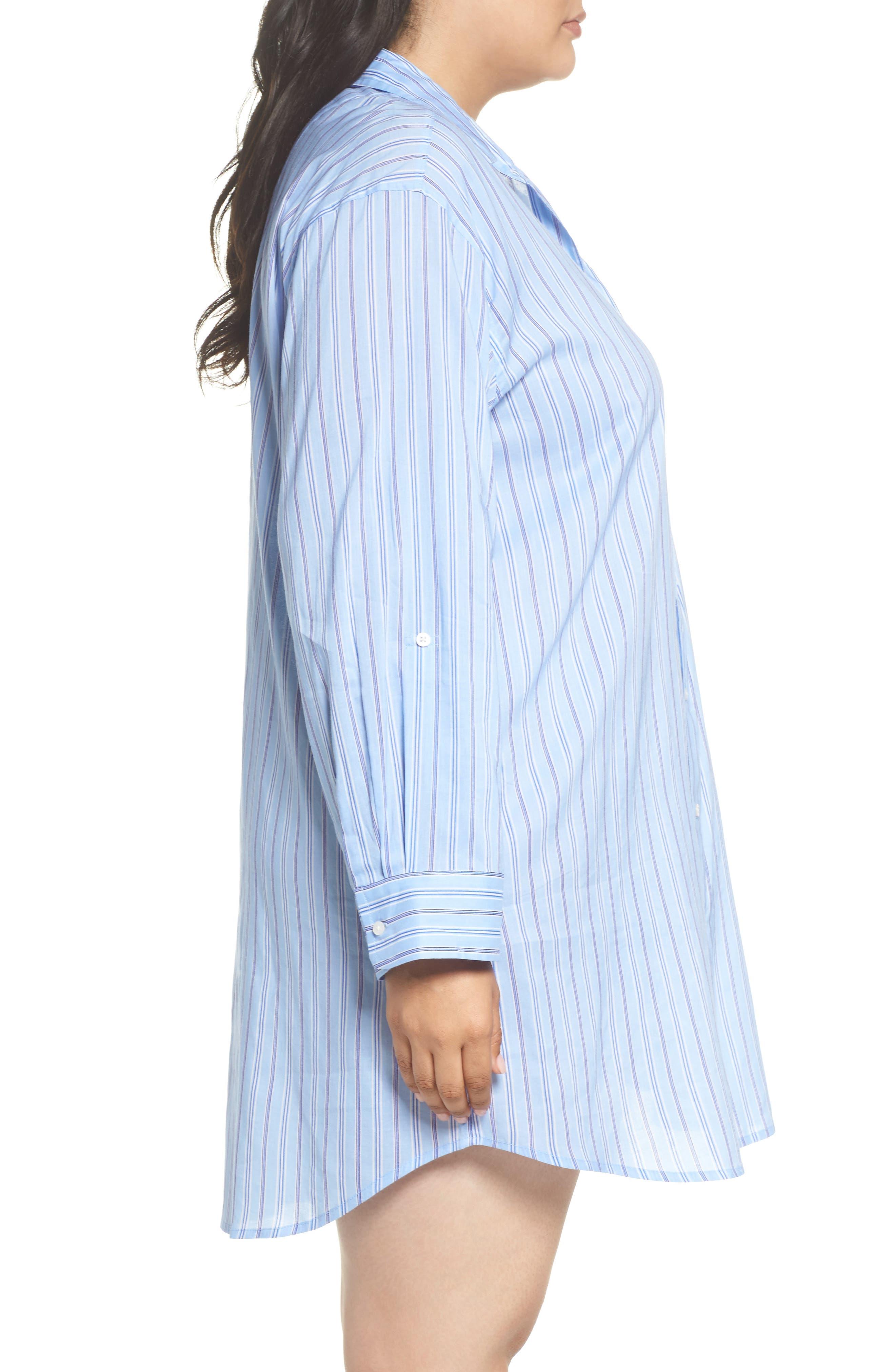 Night Shirt,                             Alternate thumbnail 3, color,                             Blue Stripe