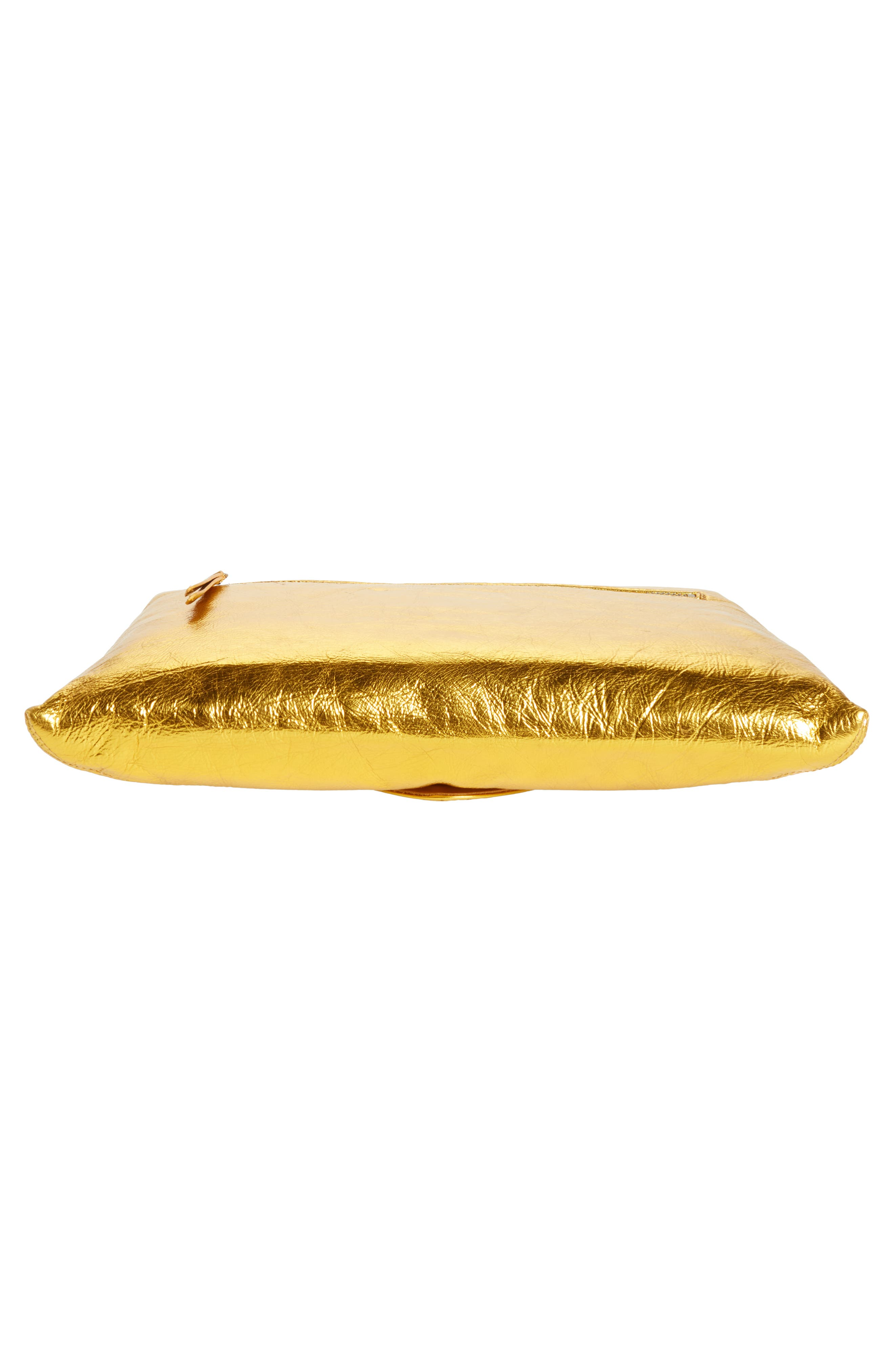 Metallic Leather Envelope Clutch,                             Alternate thumbnail 6, color,                             Gold