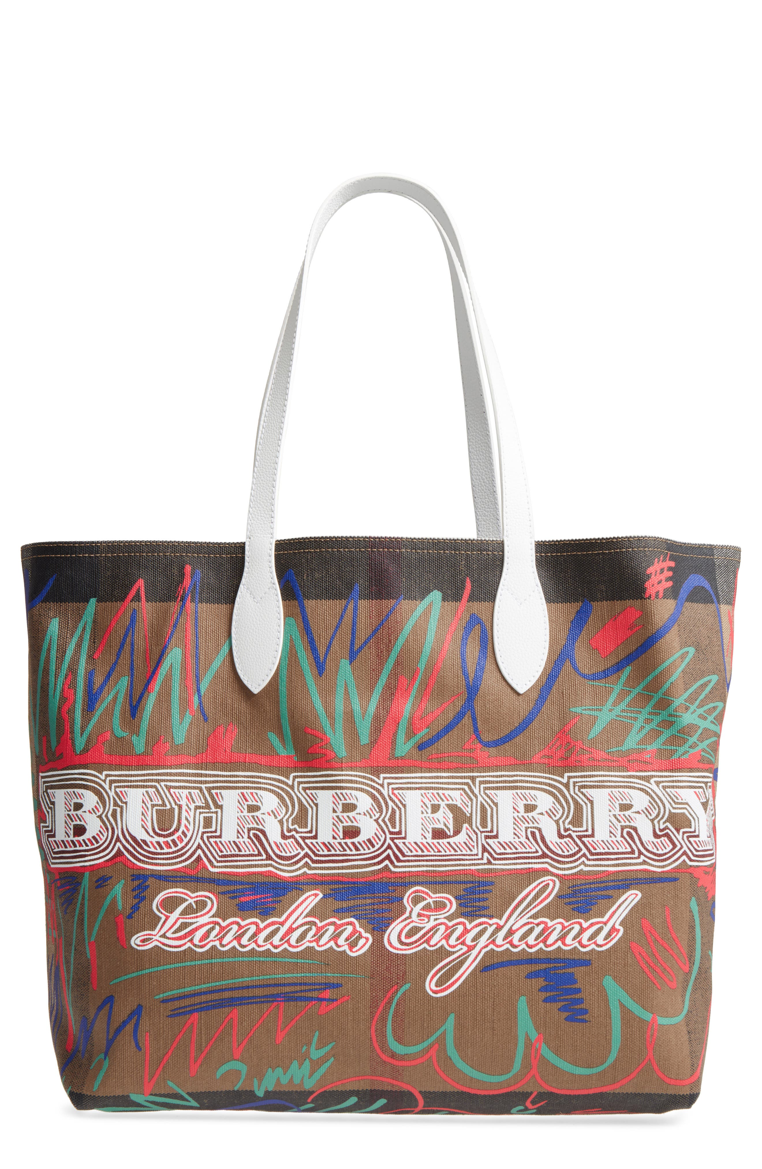 Alternate Image 1 Selected - Burberry Doodletote/Check Reversible Canvas Tote