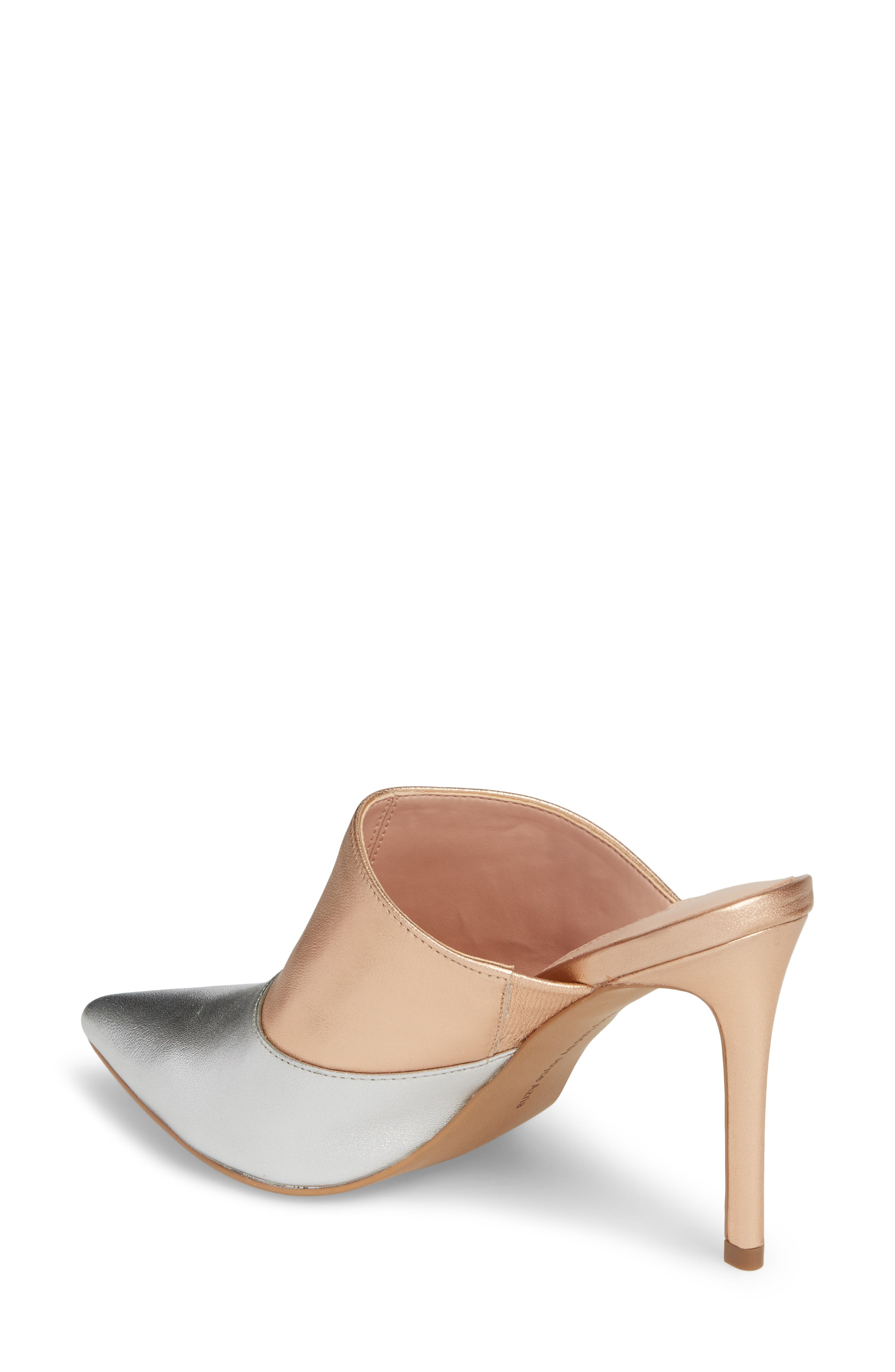Joelle High Heel Mule,                             Alternate thumbnail 2, color,                             Silver/ Rose Gold Leather