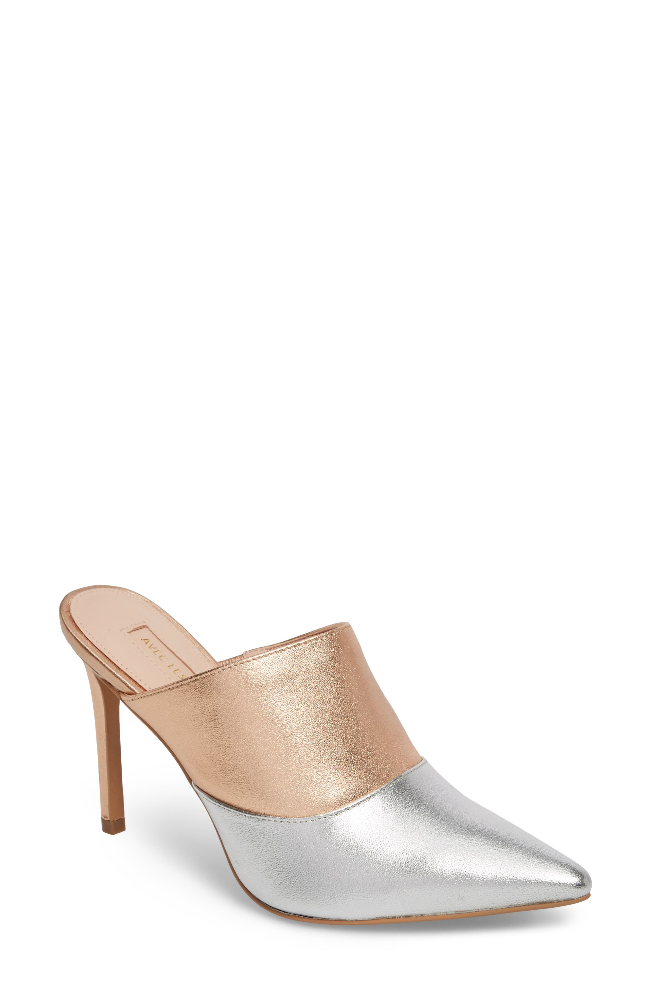 Joelle High Heel Mule,                             Main thumbnail 1, color,                             Silver/ Rose Gold Leather