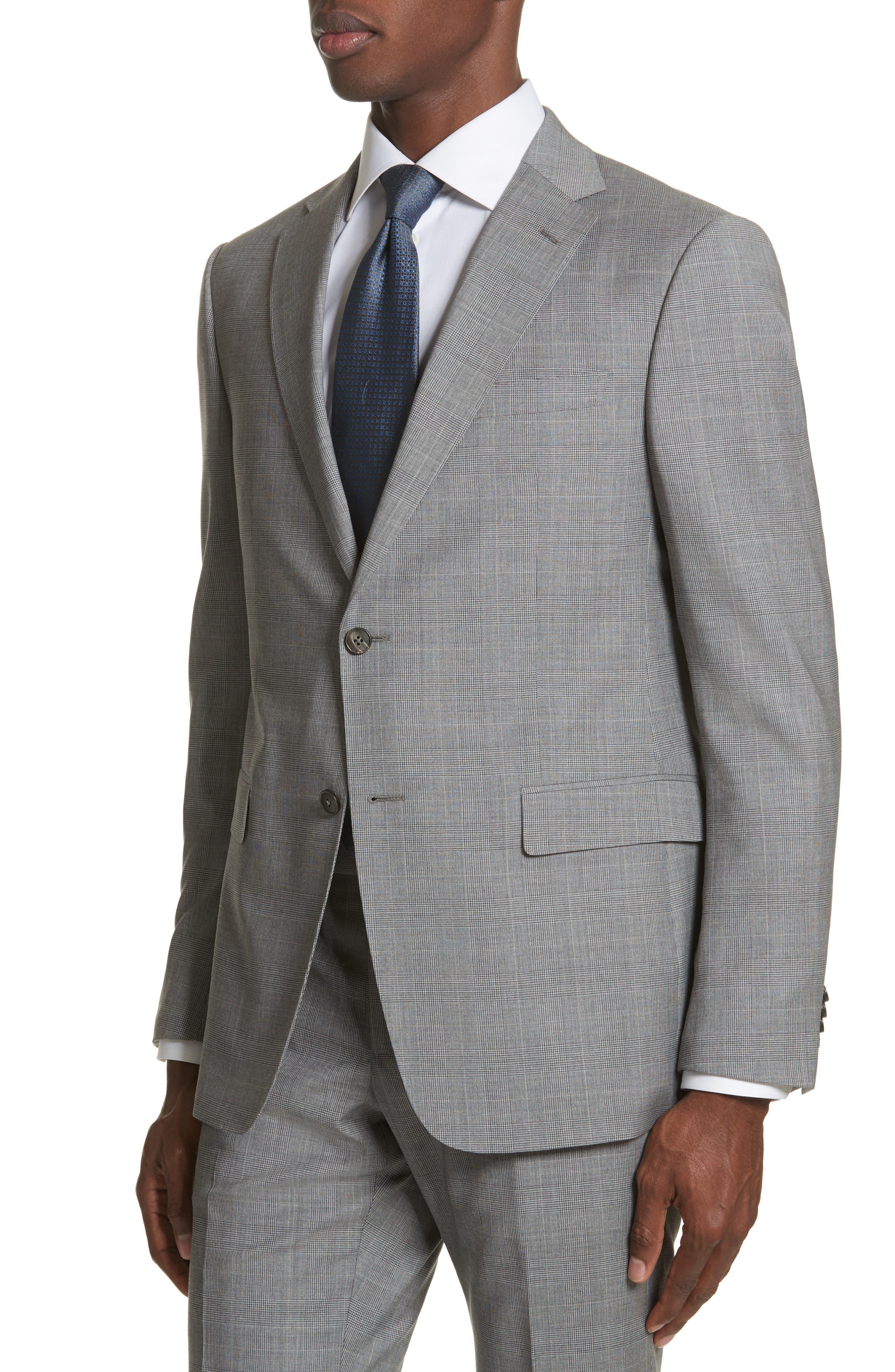 Classic Fit Plaid Wool Suit,                             Alternate thumbnail 4, color,                             Dark Grey Check