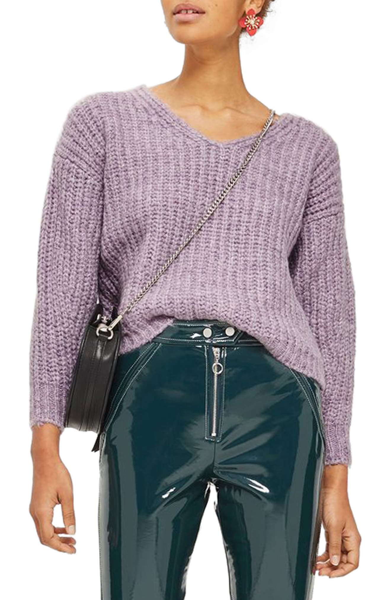 Alternate Image 1 Selected - Topshop Oversized V-Neck Sweater