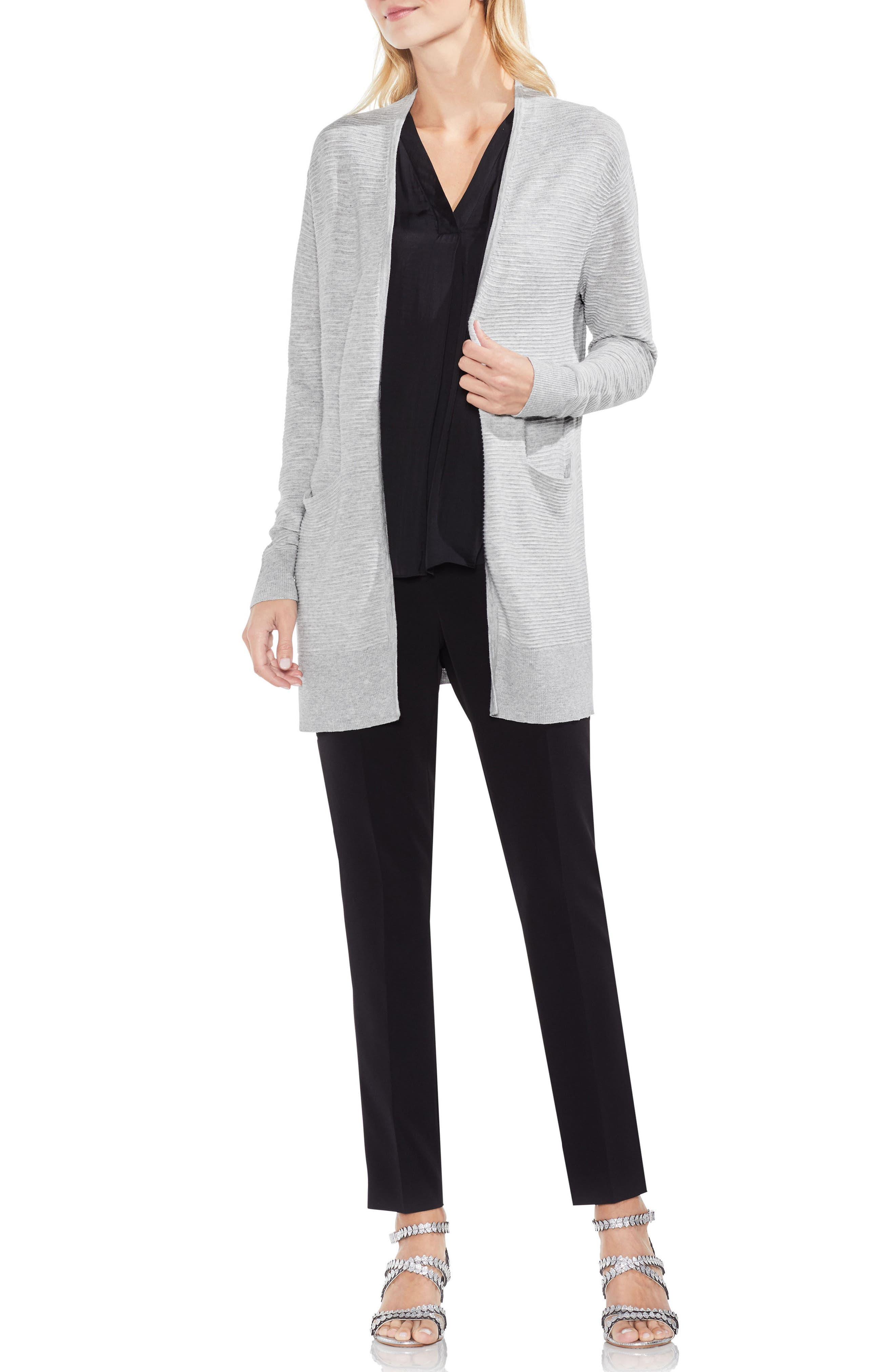 Ribbed Long Cardigan,                             Alternate thumbnail 3, color,                             Grey Heather