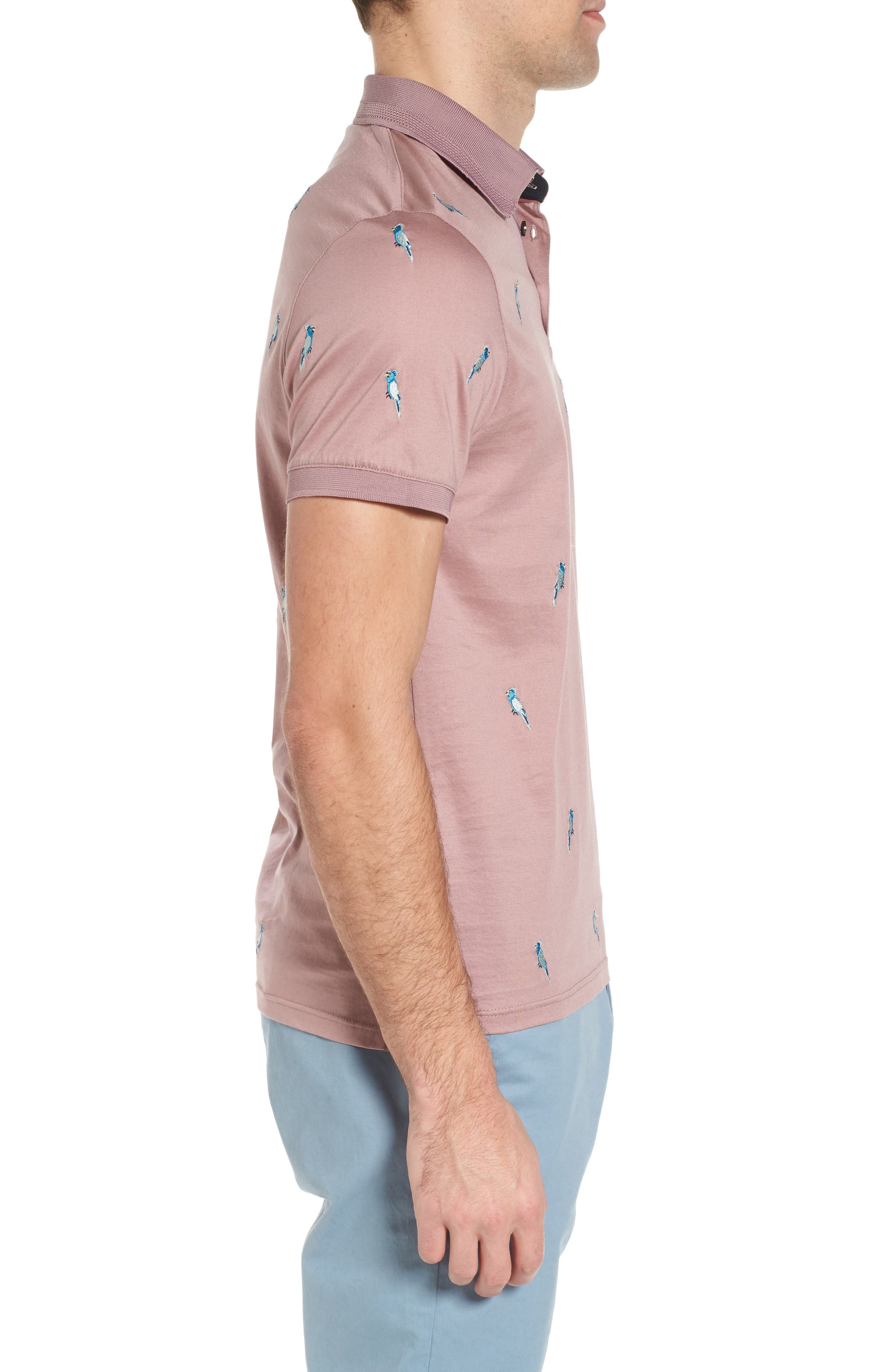 Scraffy Trim Fit Cockatoo Embroidered Polo,                             Alternate thumbnail 3, color,                             Dusky Pink